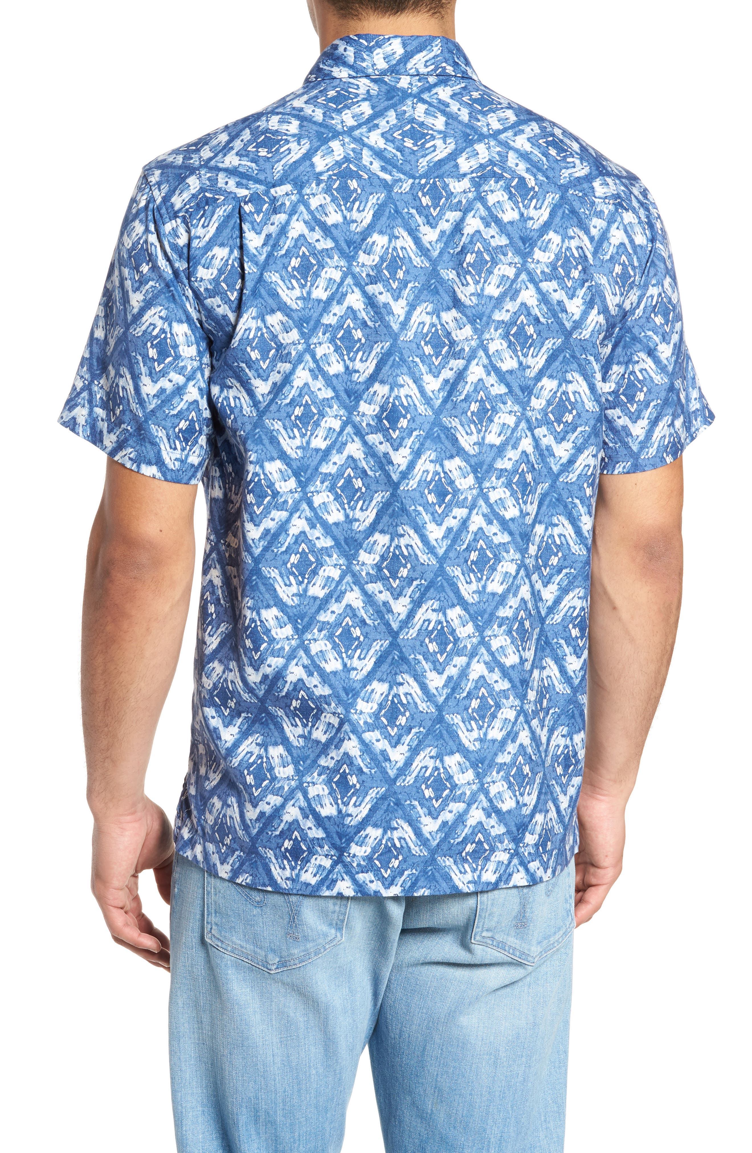 Deep Water Diamond Camp Shirt,                             Alternate thumbnail 2, color,