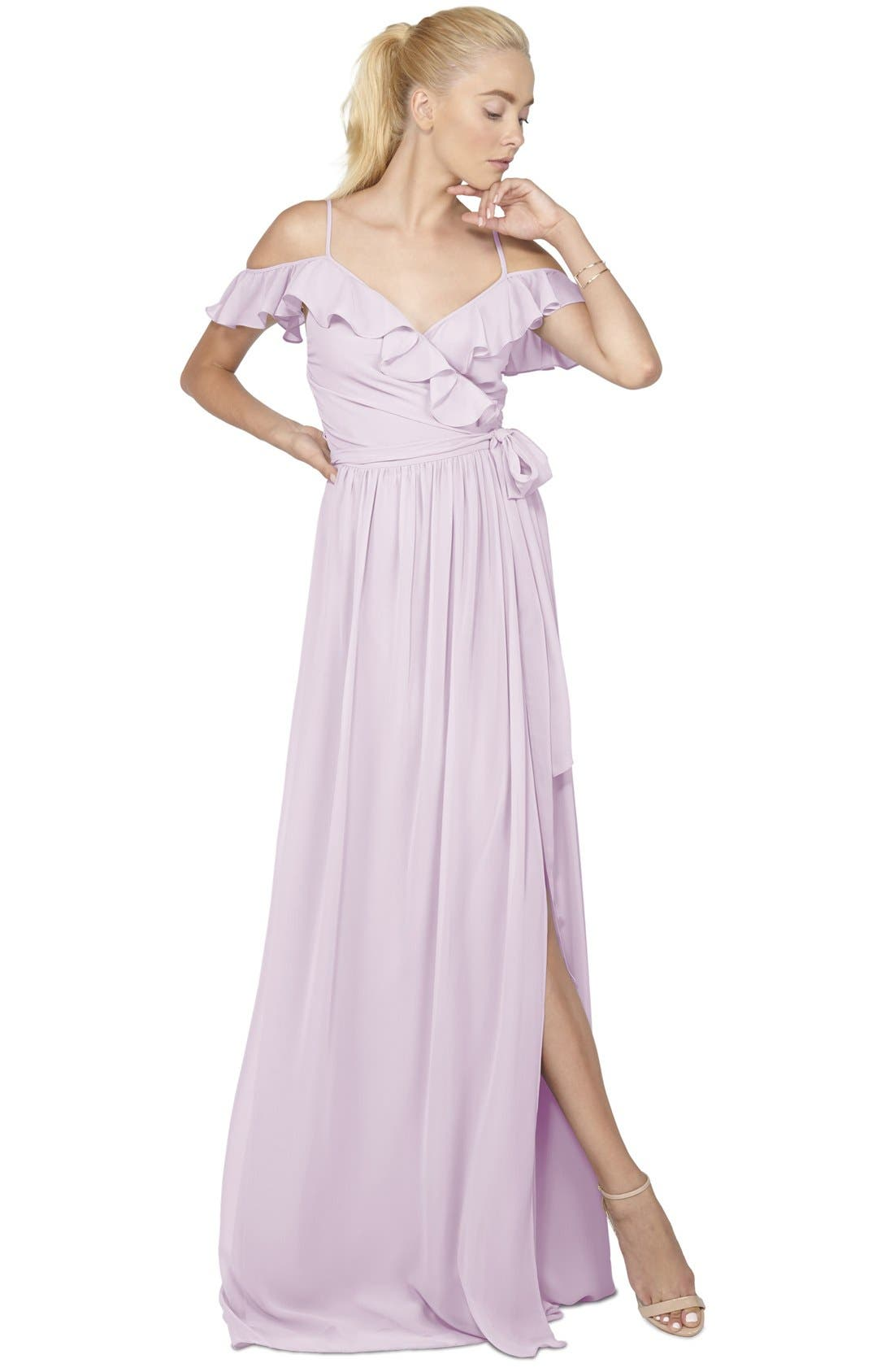 Portia Off the Shoulder Ruffle Wrap Chiffon Gown,                             Main thumbnail 1, color,