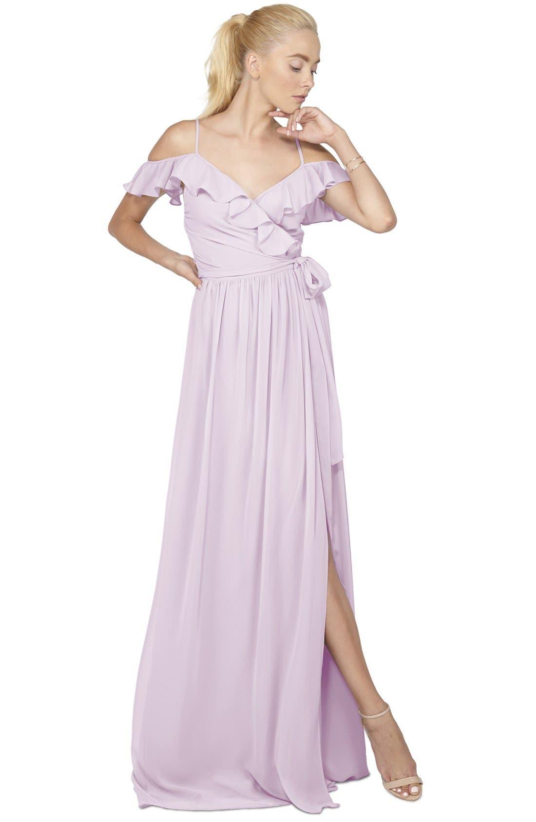 Portia Off the Shoulder Ruffle Wrap Chiffon Gown,                         Main,                         color,