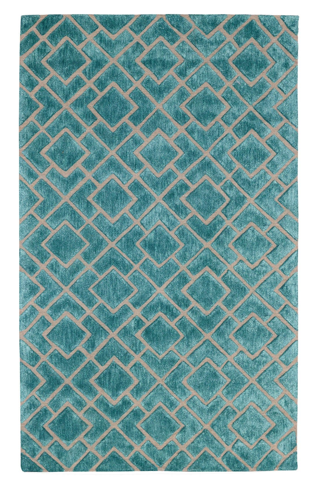 VILLA HOME COLLECTION,                             'Over Tufted - Turquoise' Rug,                             Main thumbnail 1, color,                             440