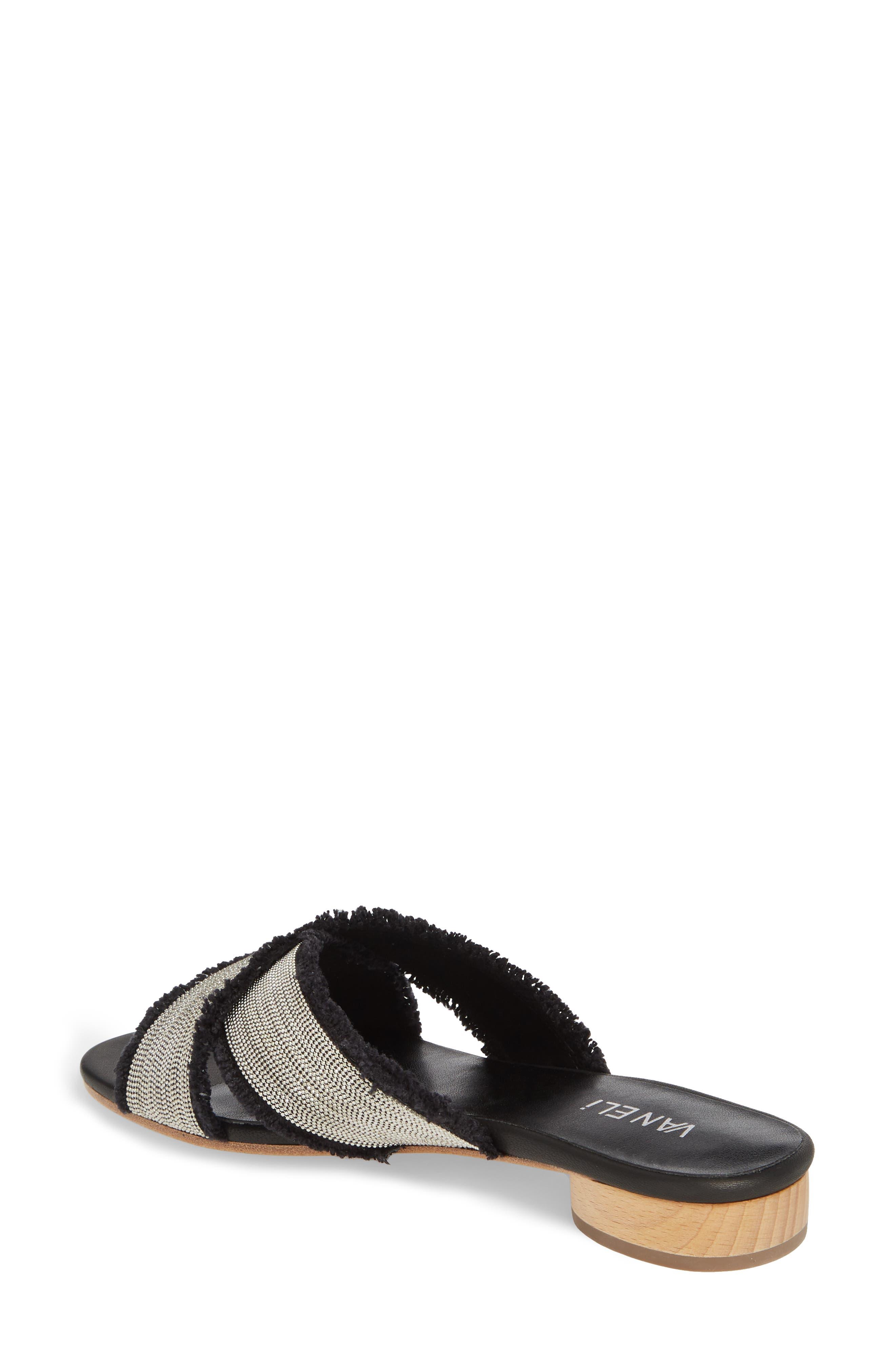 Baret Embellished Cross Strap Slide Sandal,                             Alternate thumbnail 2, color,                             BLACK FABRIC