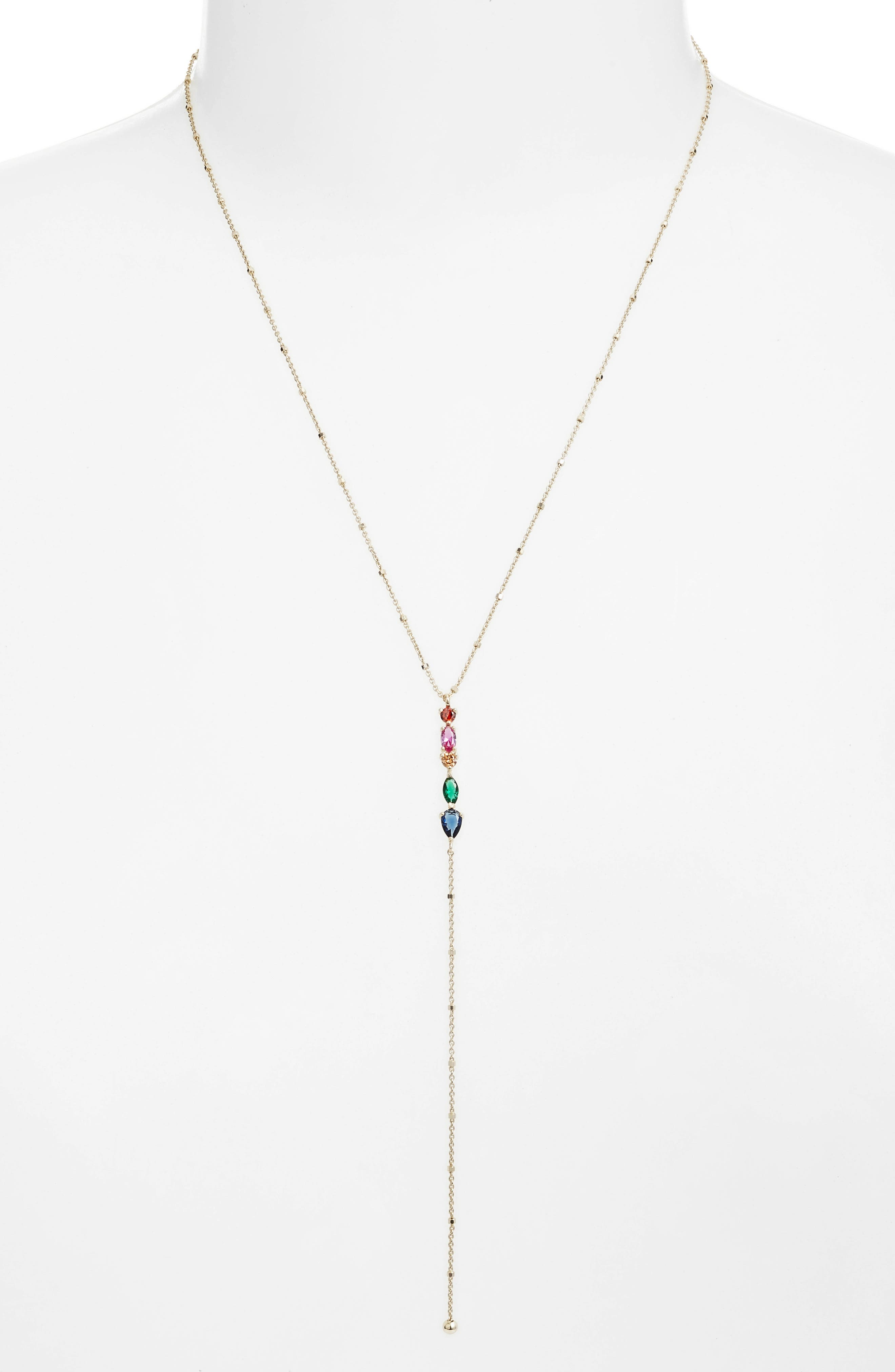 Rainbow Y-Necklace,                             Alternate thumbnail 2, color,                             GOLD