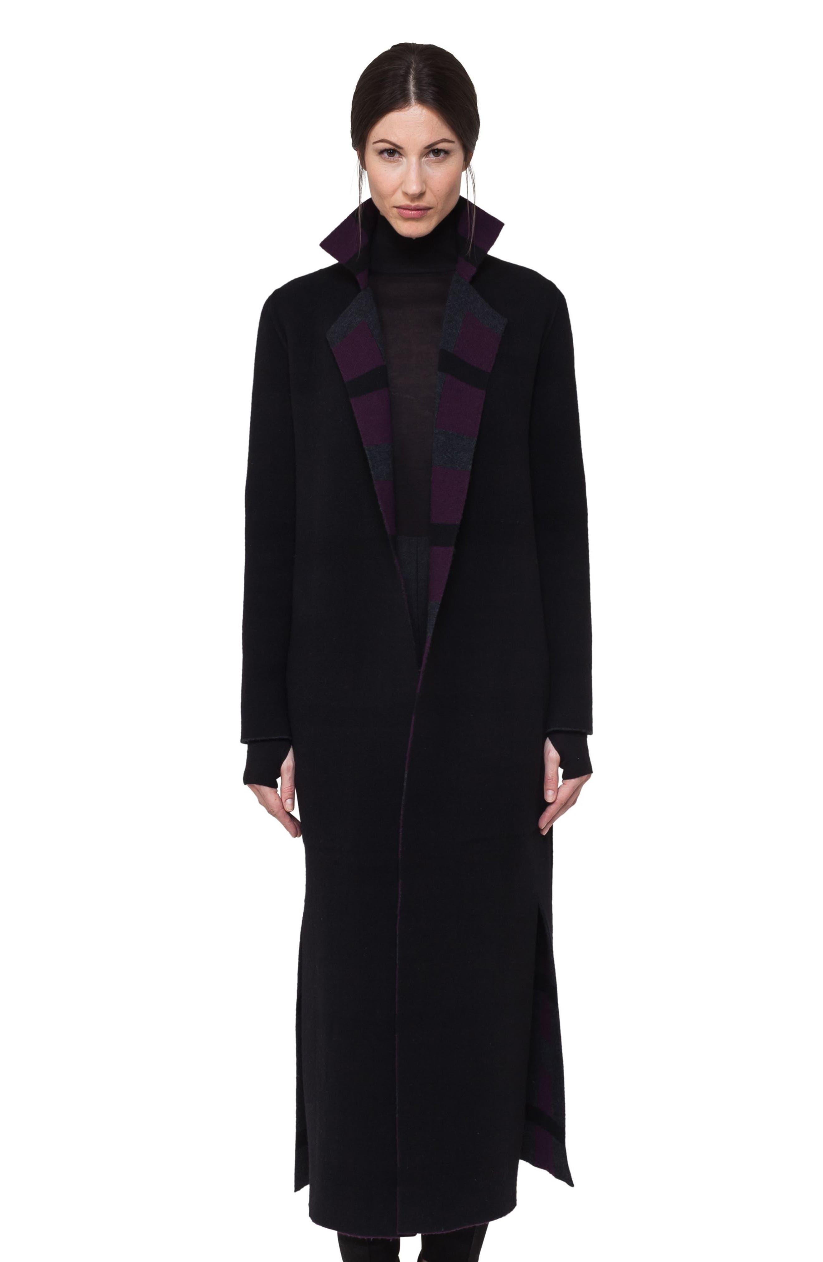 Reversible Double Face Cashmere Coat,                             Alternate thumbnail 2, color,