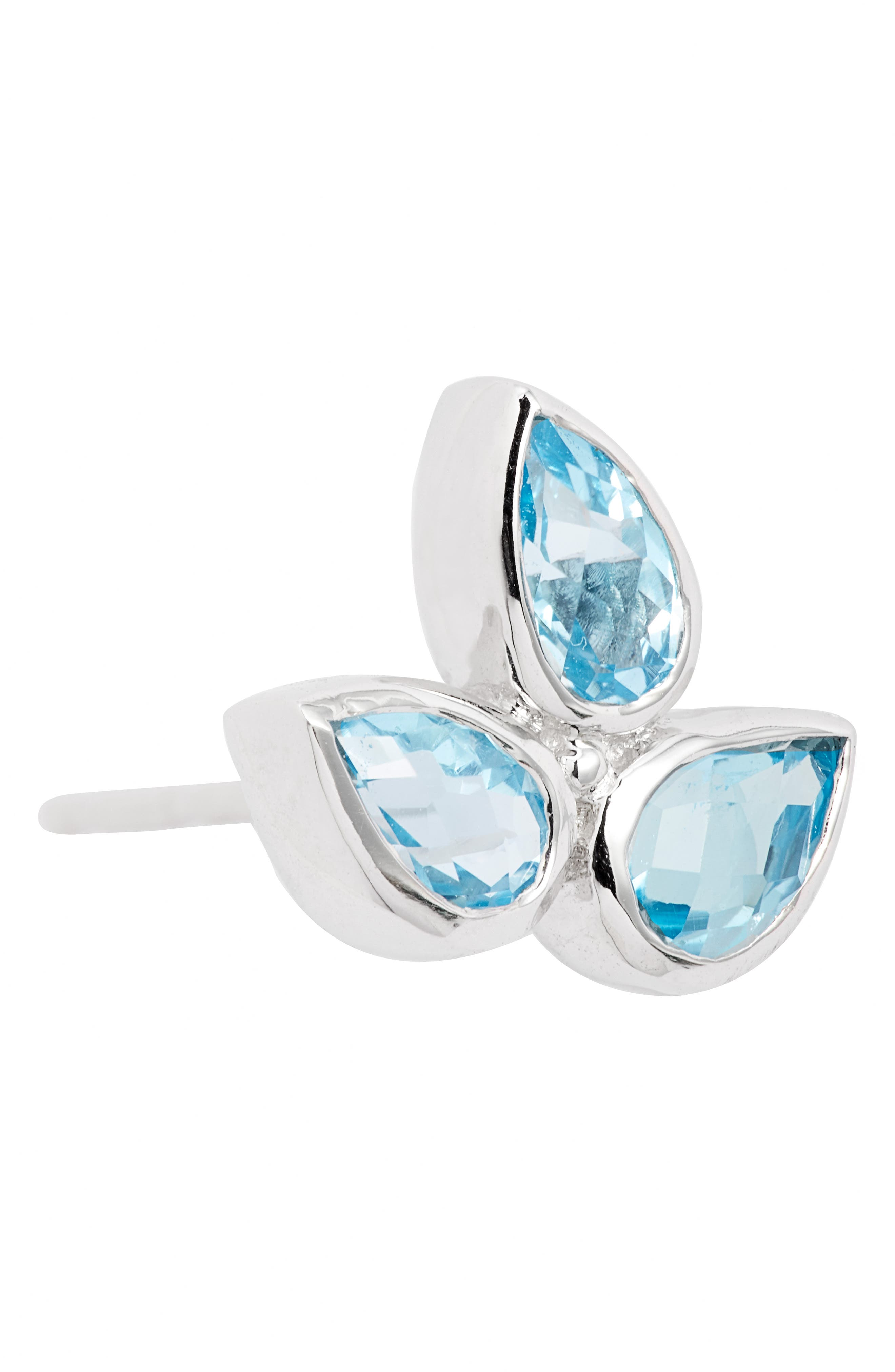 ANZIE,                             Micro Bouquet White Topaz Post Earrings,                             Alternate thumbnail 6, color,                             BLUE TOPAZ