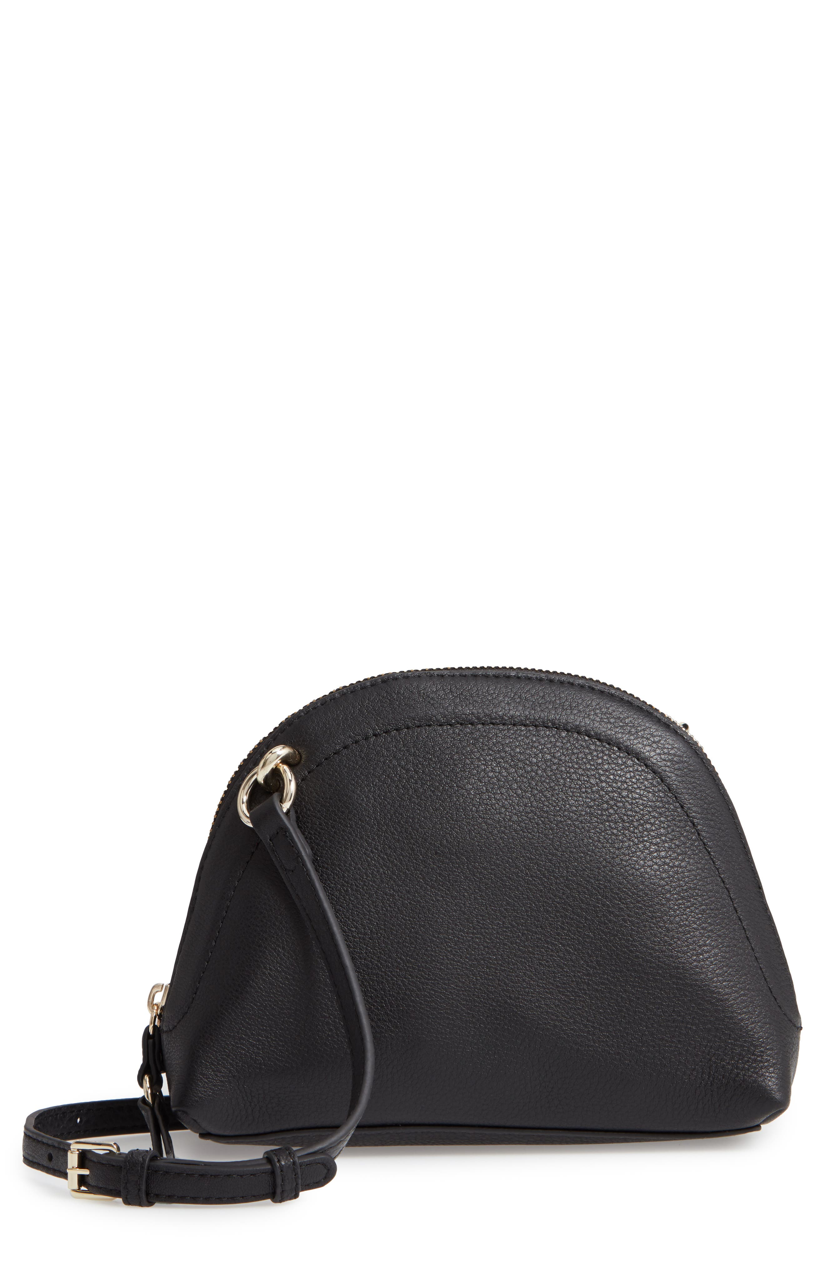 Katja Leather Half-Moon Crossbody Bag,                             Main thumbnail 1, color,                             001