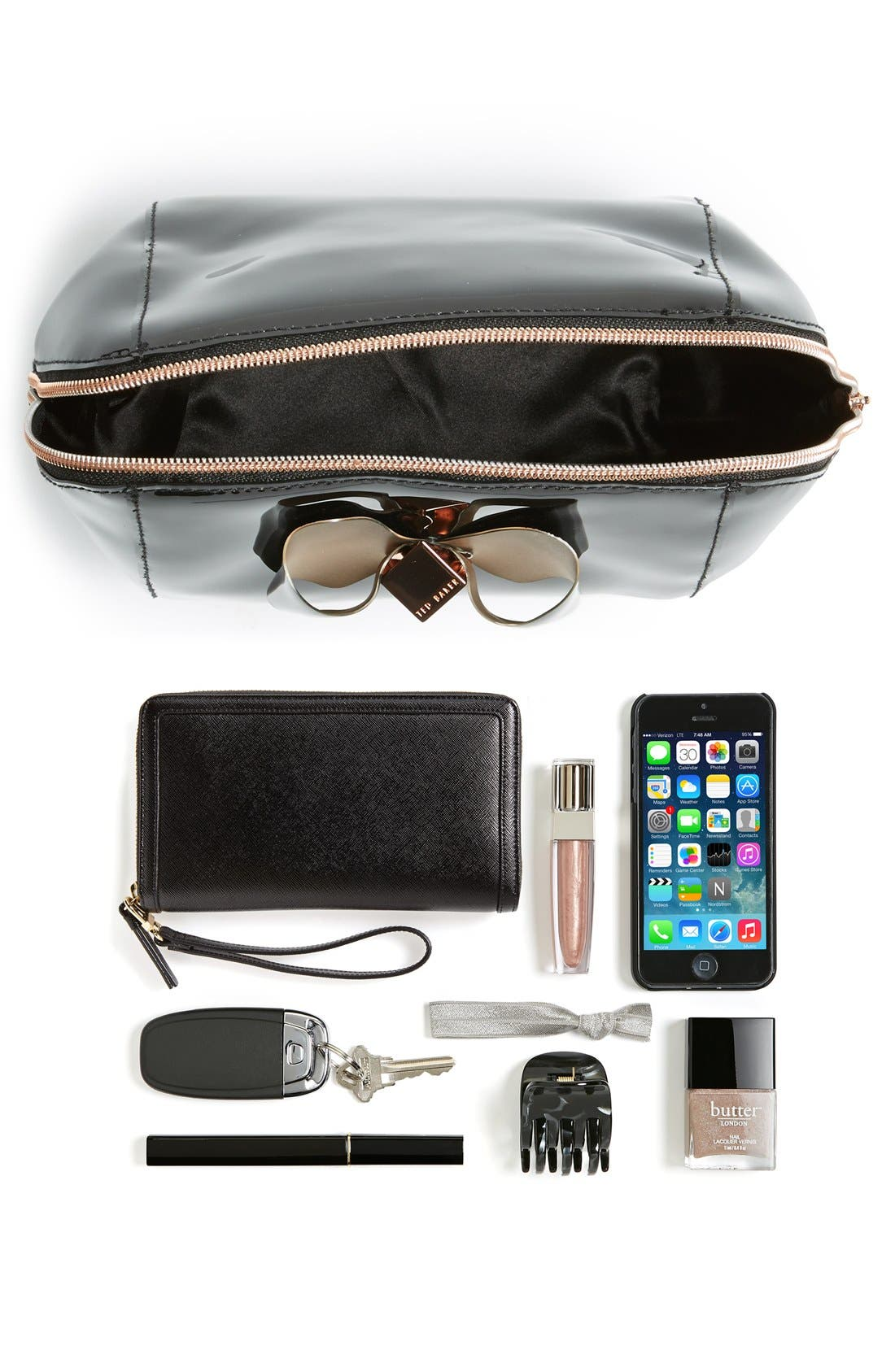 'Rochel - Extra Large Bow' Cosmetics Case,                             Alternate thumbnail 2, color,                             001