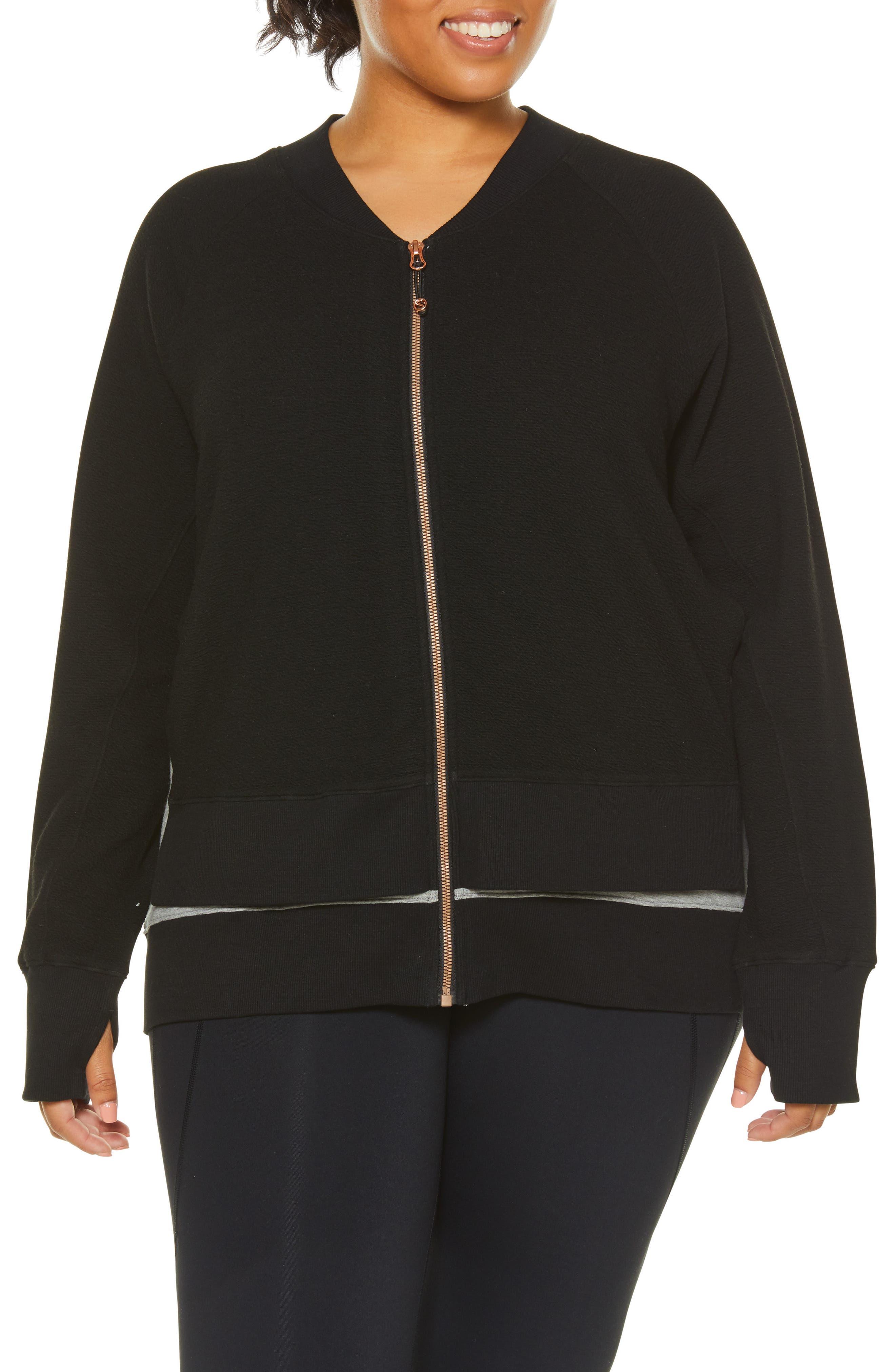 Sublime Double Layer Jacket,                             Alternate thumbnail 4, color,                             BLACK/ GREY HEATHER