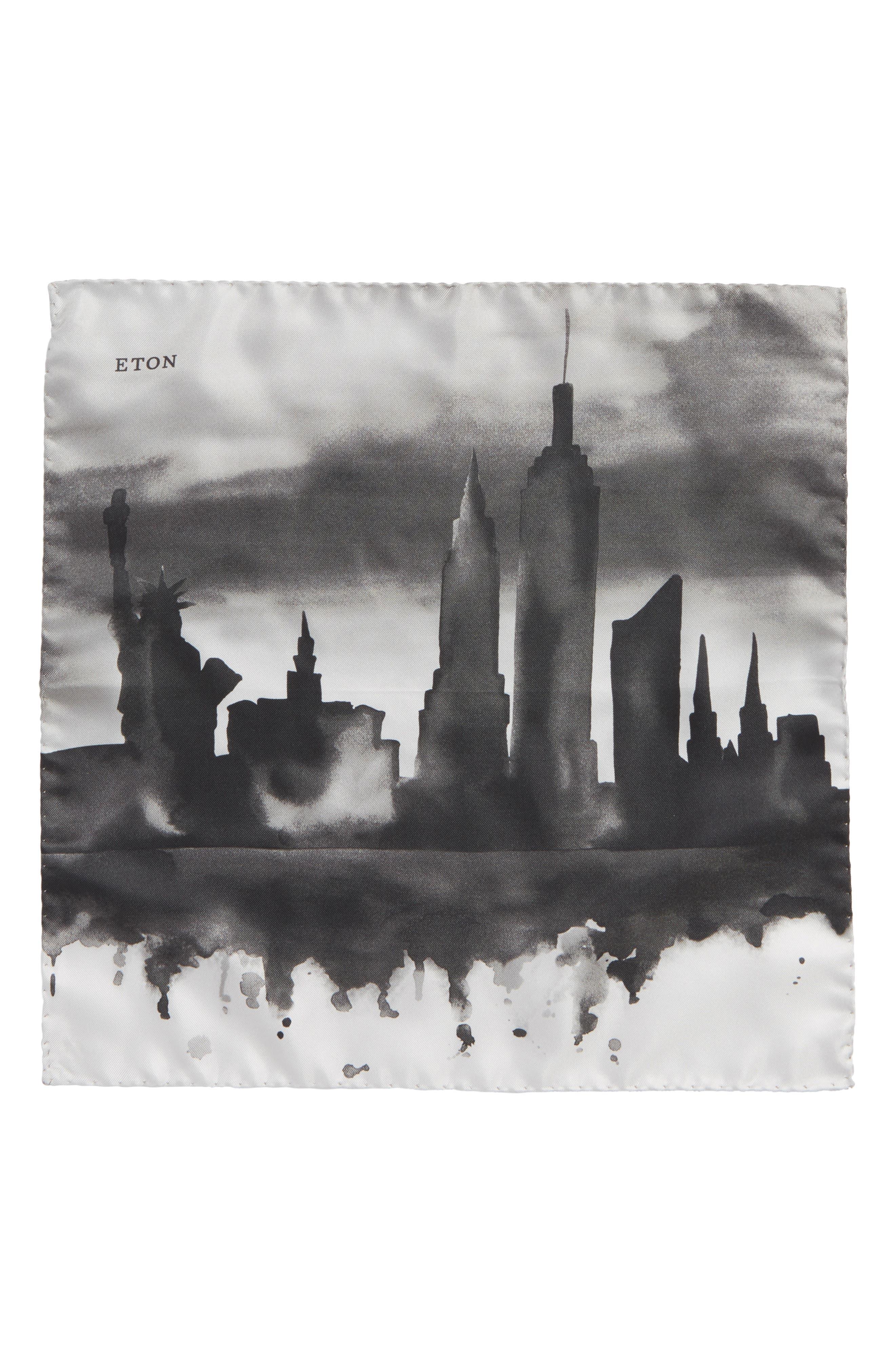 New York Skyline Silk Pocket Square,                             Alternate thumbnail 2, color,                             GREY