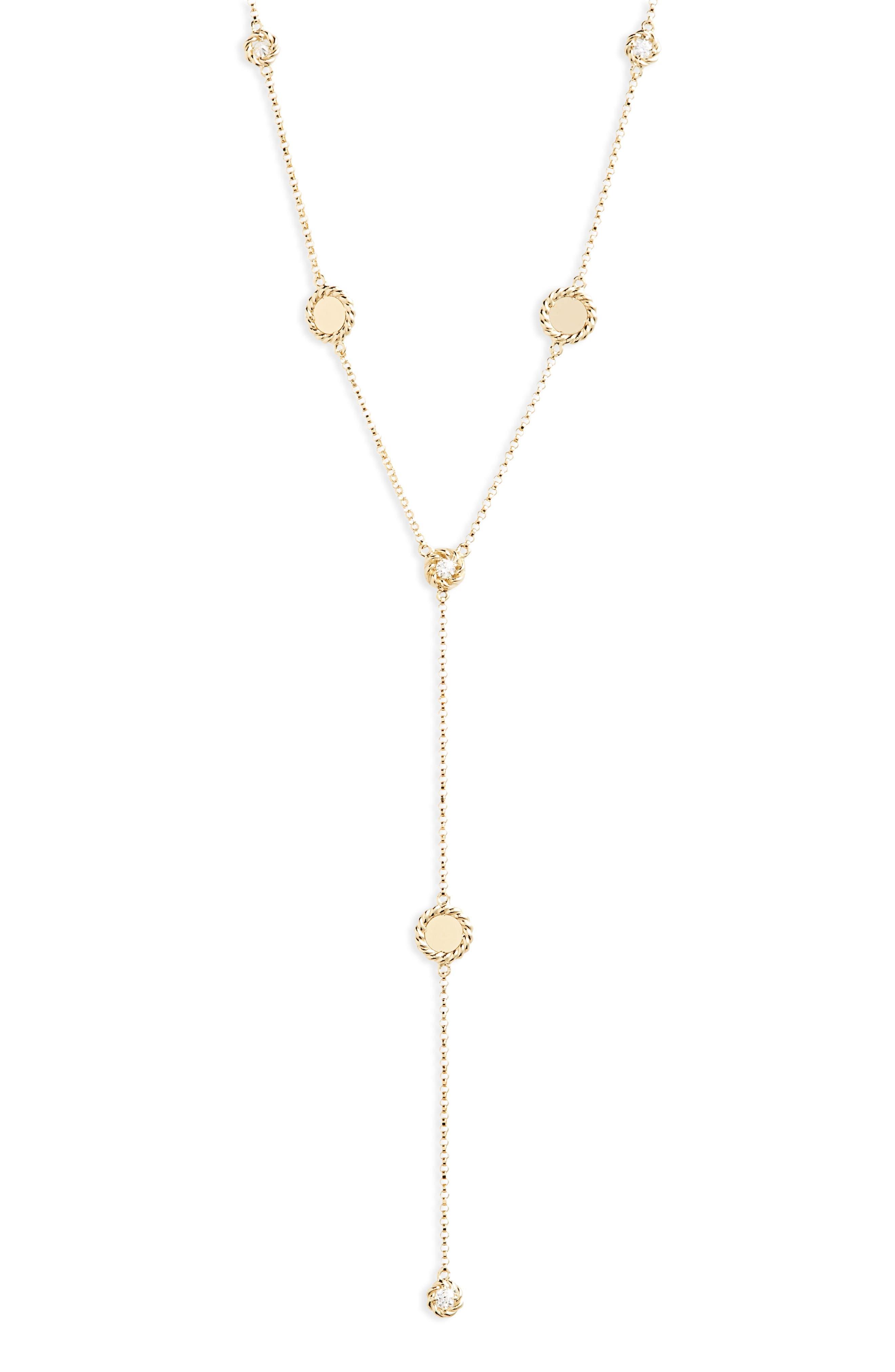 New Barocco Diamond Y-Necklace,                             Main thumbnail 1, color,                             D0.24 GHS1 18KYG
