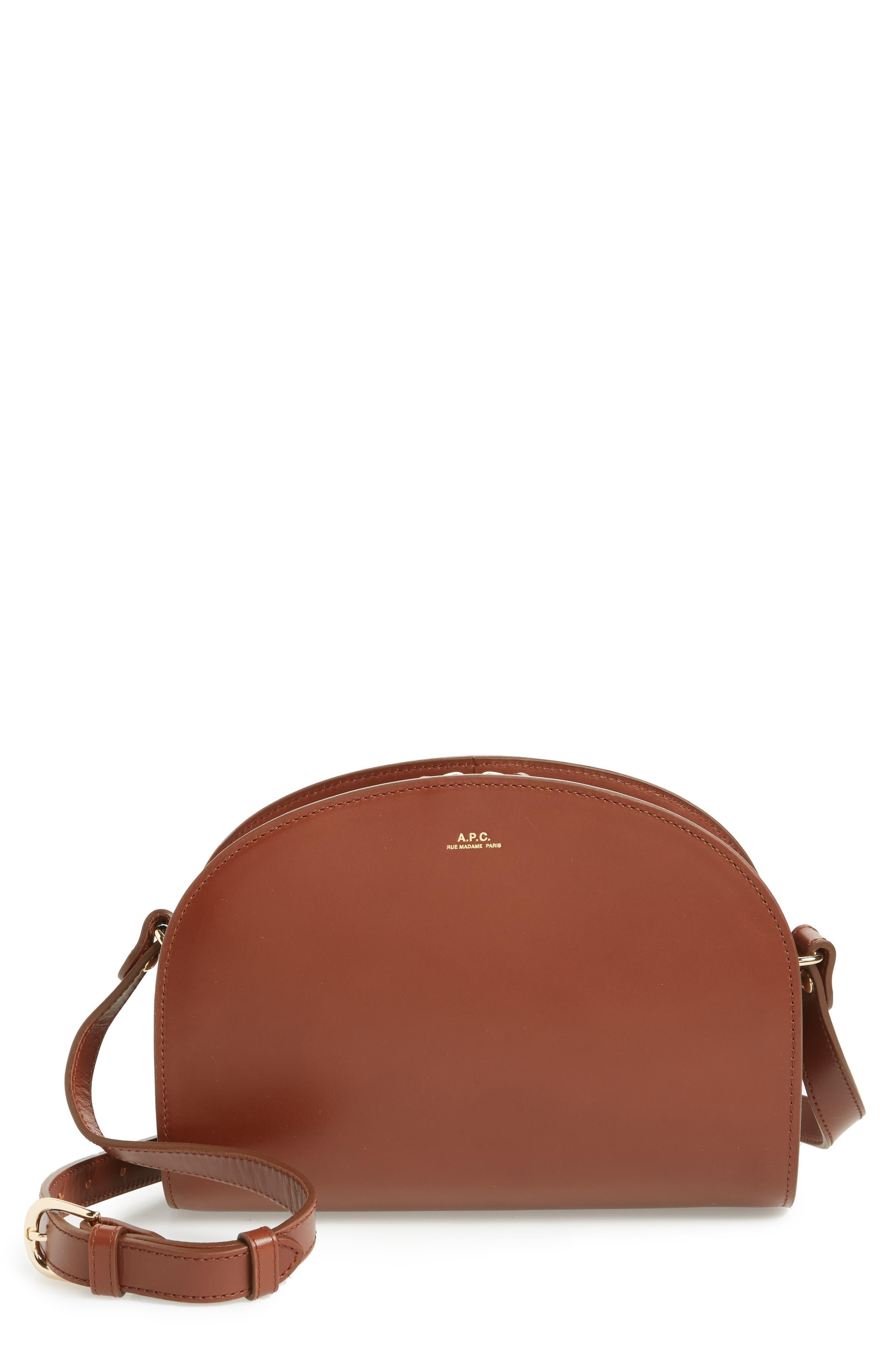 'Sac Demi Lune' Leather Crossbody Bag,                             Main thumbnail 1, color,                             NOISETTE