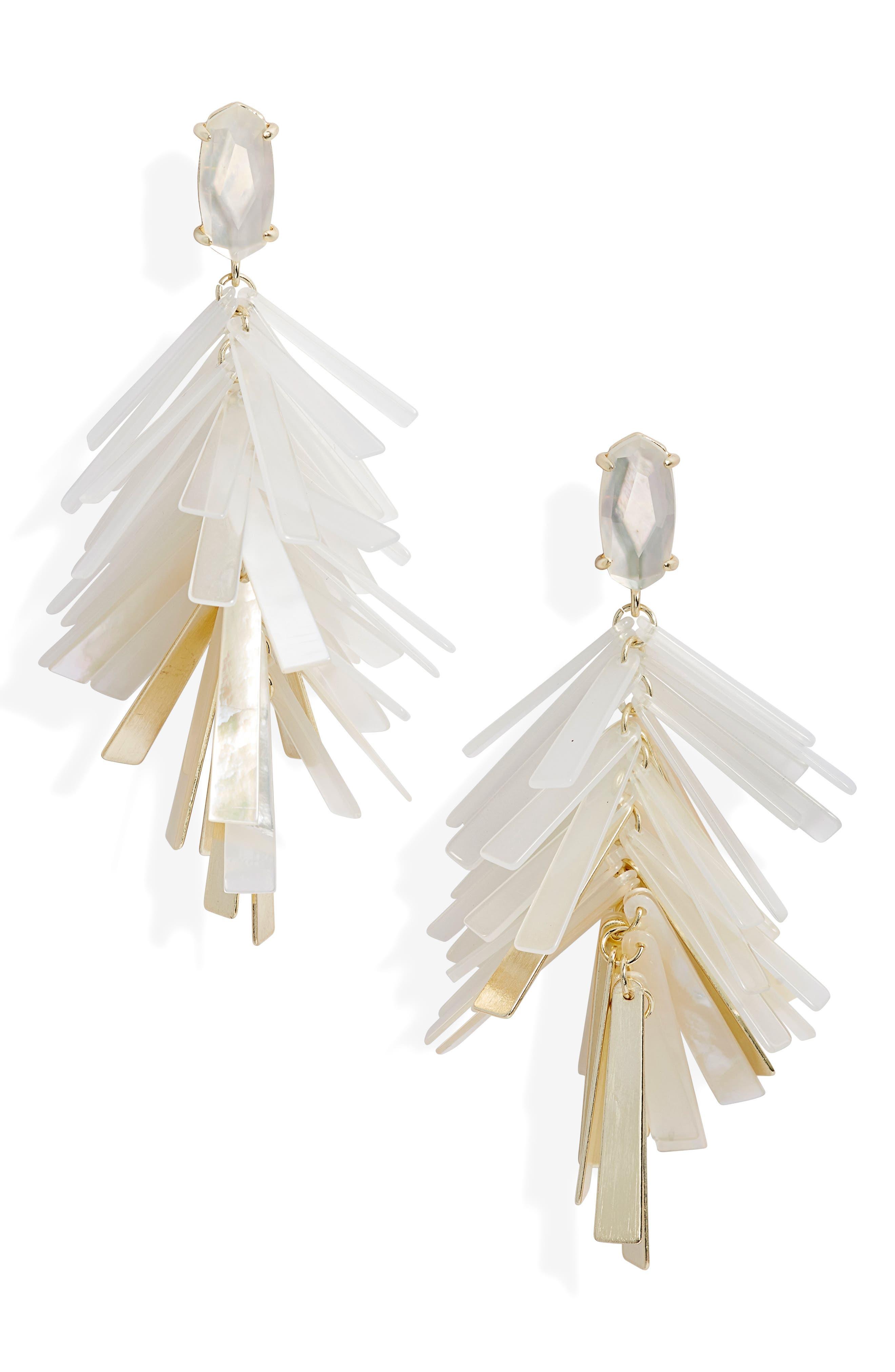 KENDRA SCOTT Jasper Fringe Drop Earrings in Gold/ Ivory Mix