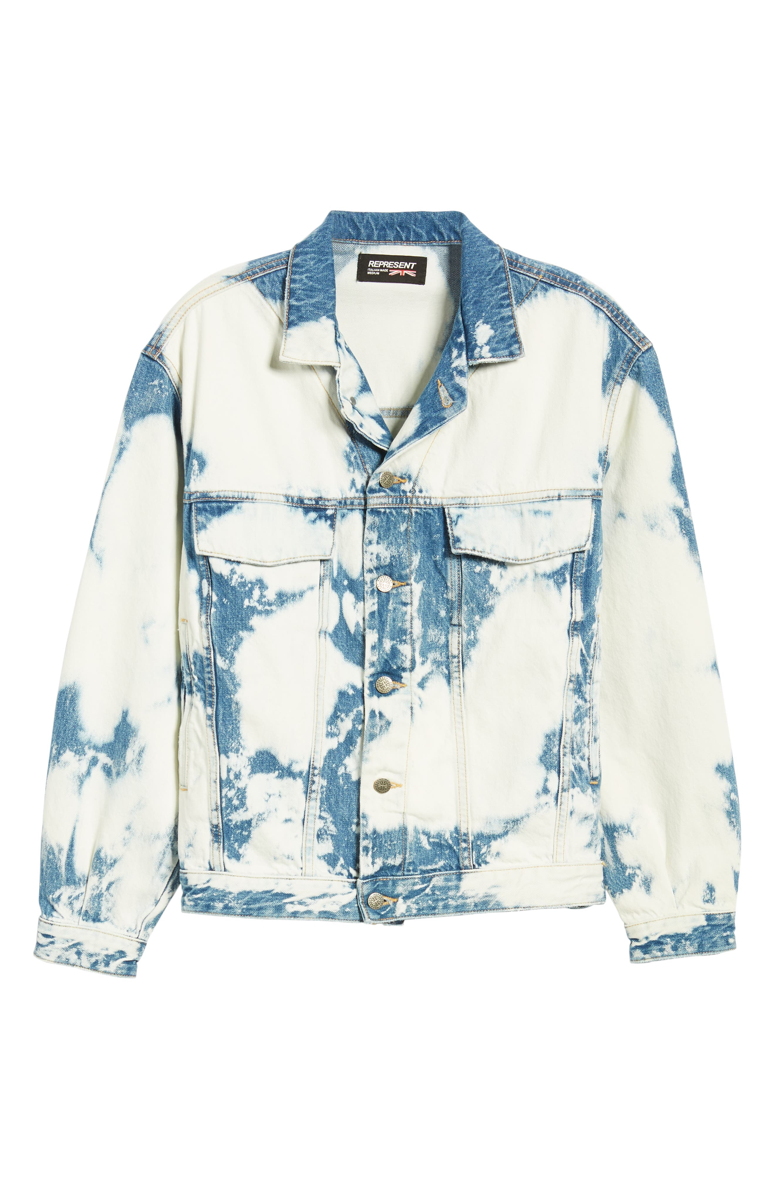 Stained Denim Jacket,                             Alternate thumbnail 6, color,                             STAINED