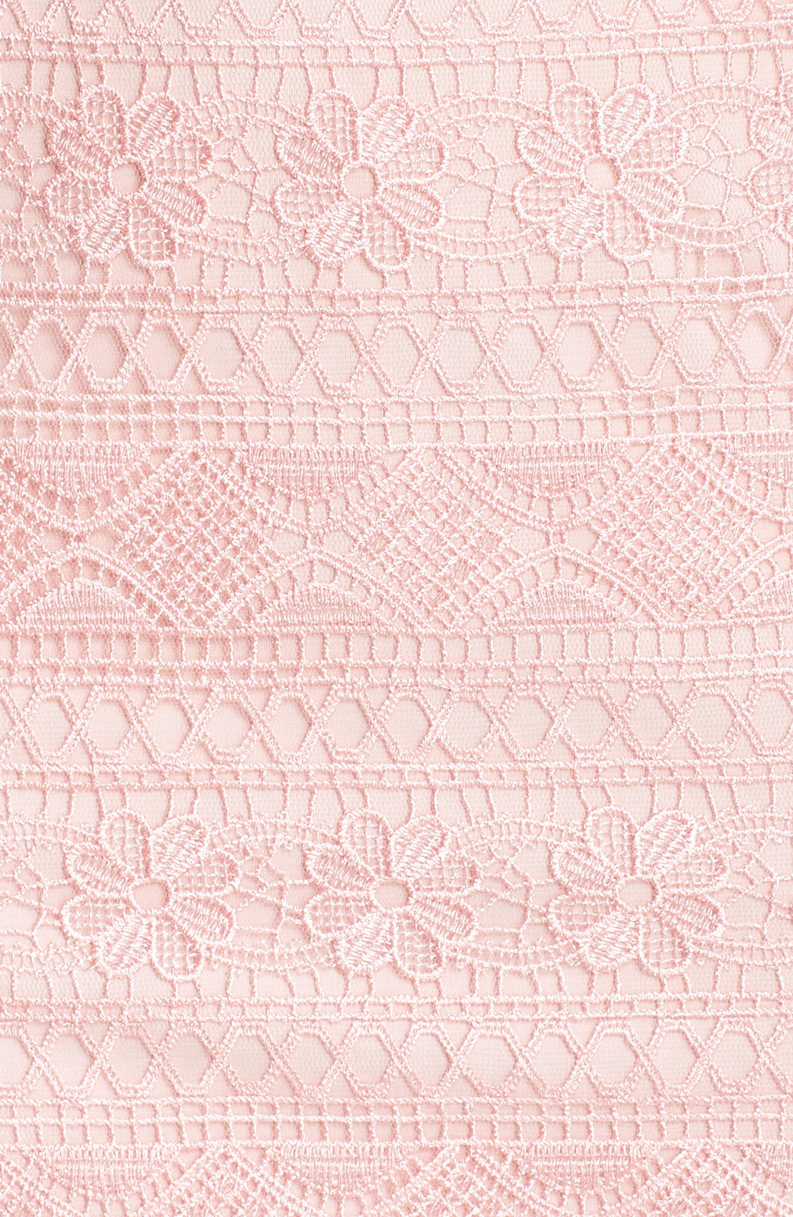 Embroidered Lace Sheath Dress,                             Alternate thumbnail 5, color,                             ROSE QUARTZ