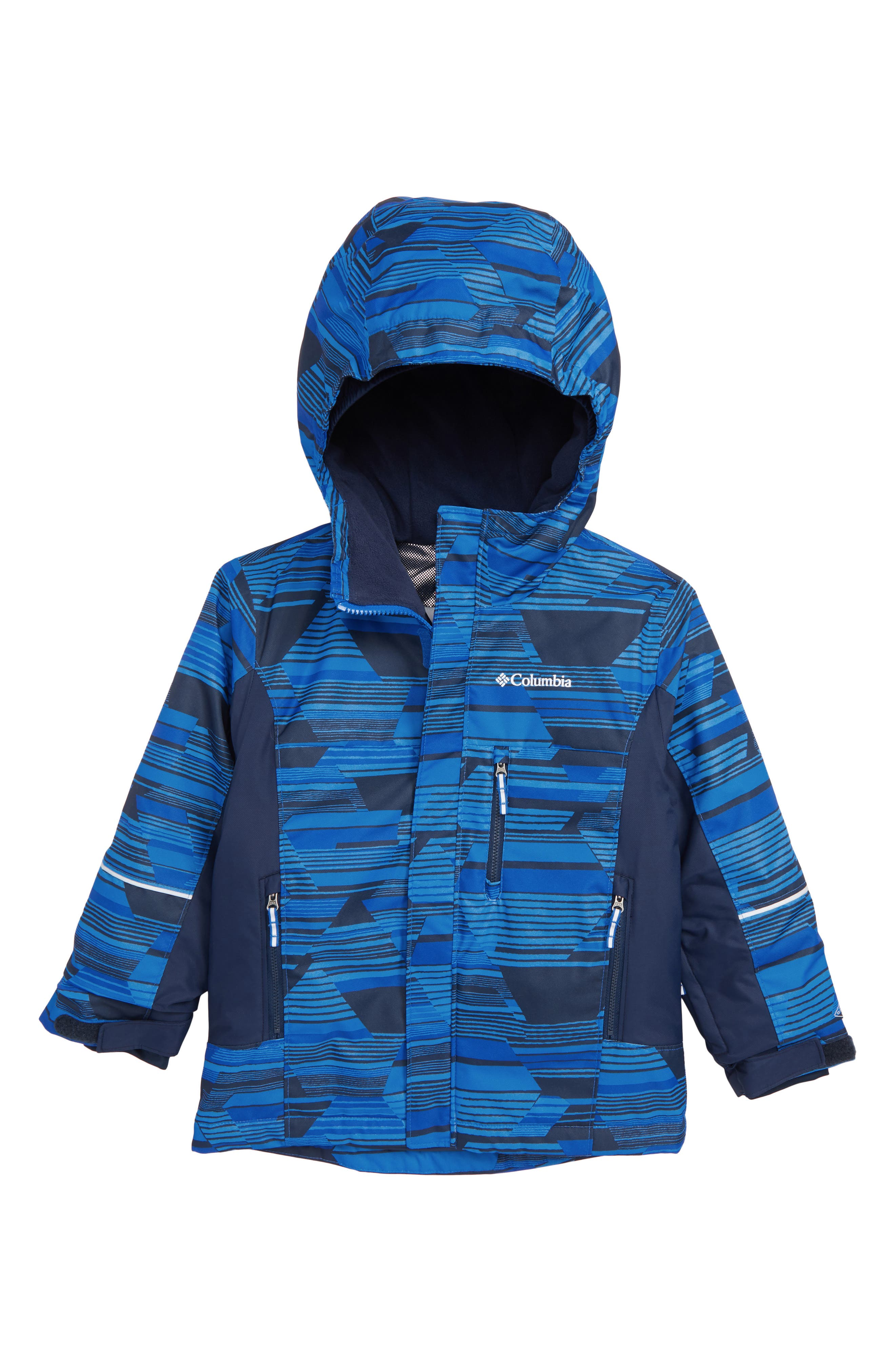 Mighty Mogul<sup>™</sup> Waterproof & Windproof Insulated Jacket,                             Main thumbnail 1, color,                             SUPER BLUE GEO PRINT