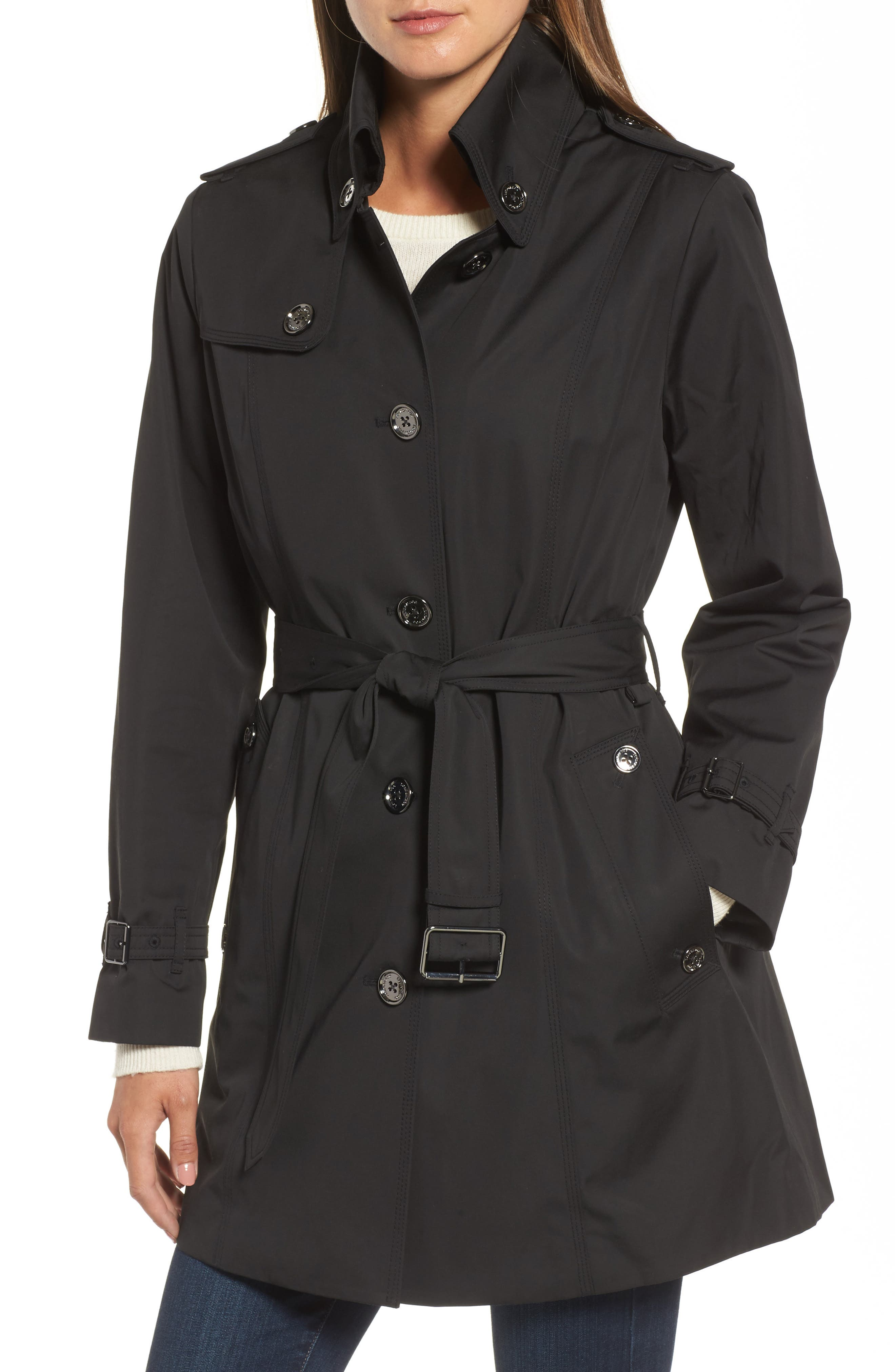 Short Trench Coat,                             Alternate thumbnail 4, color,                             001