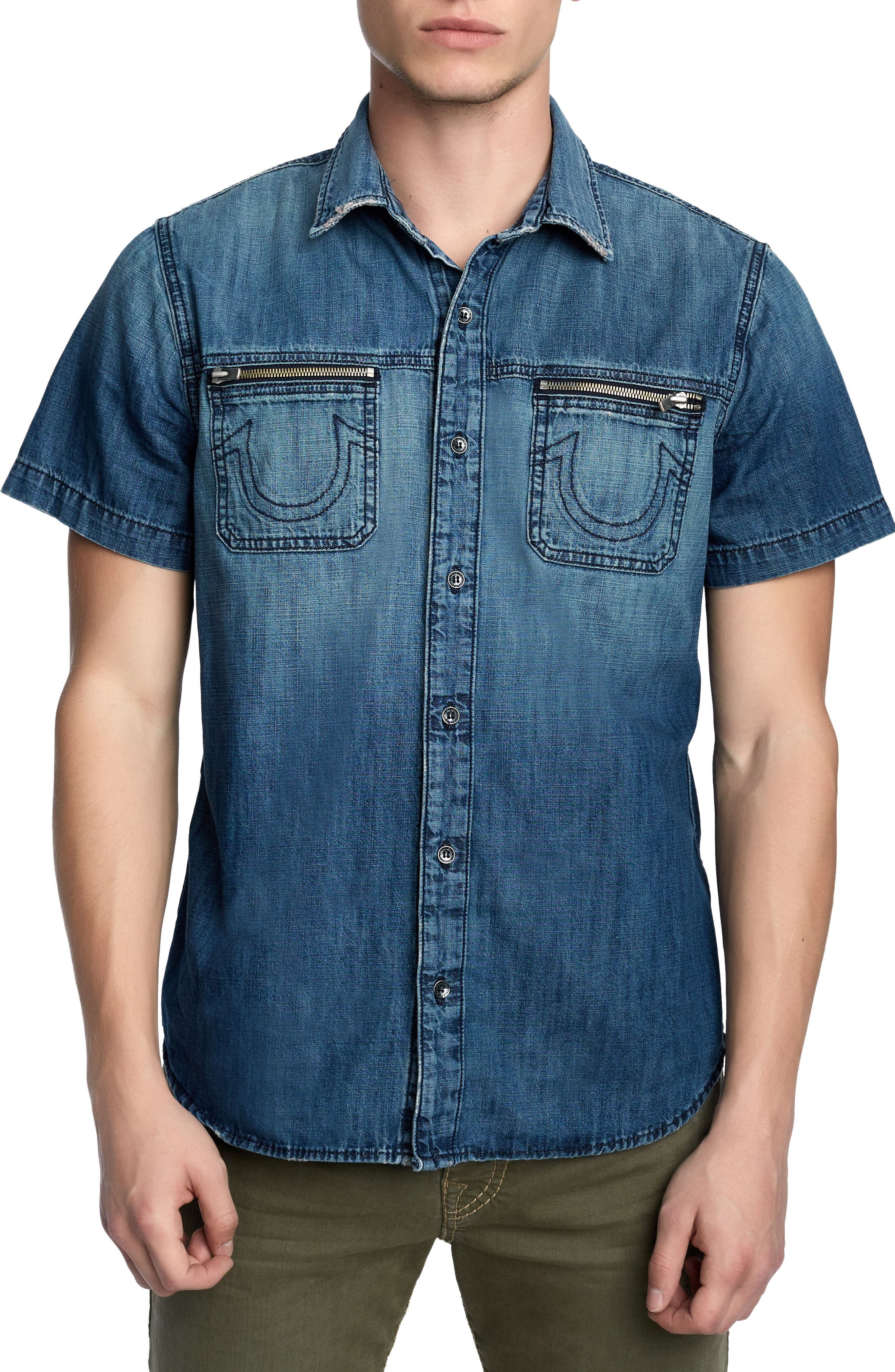 Zip Pocket Denim Shirt,                         Main,                         color, SEA PORT