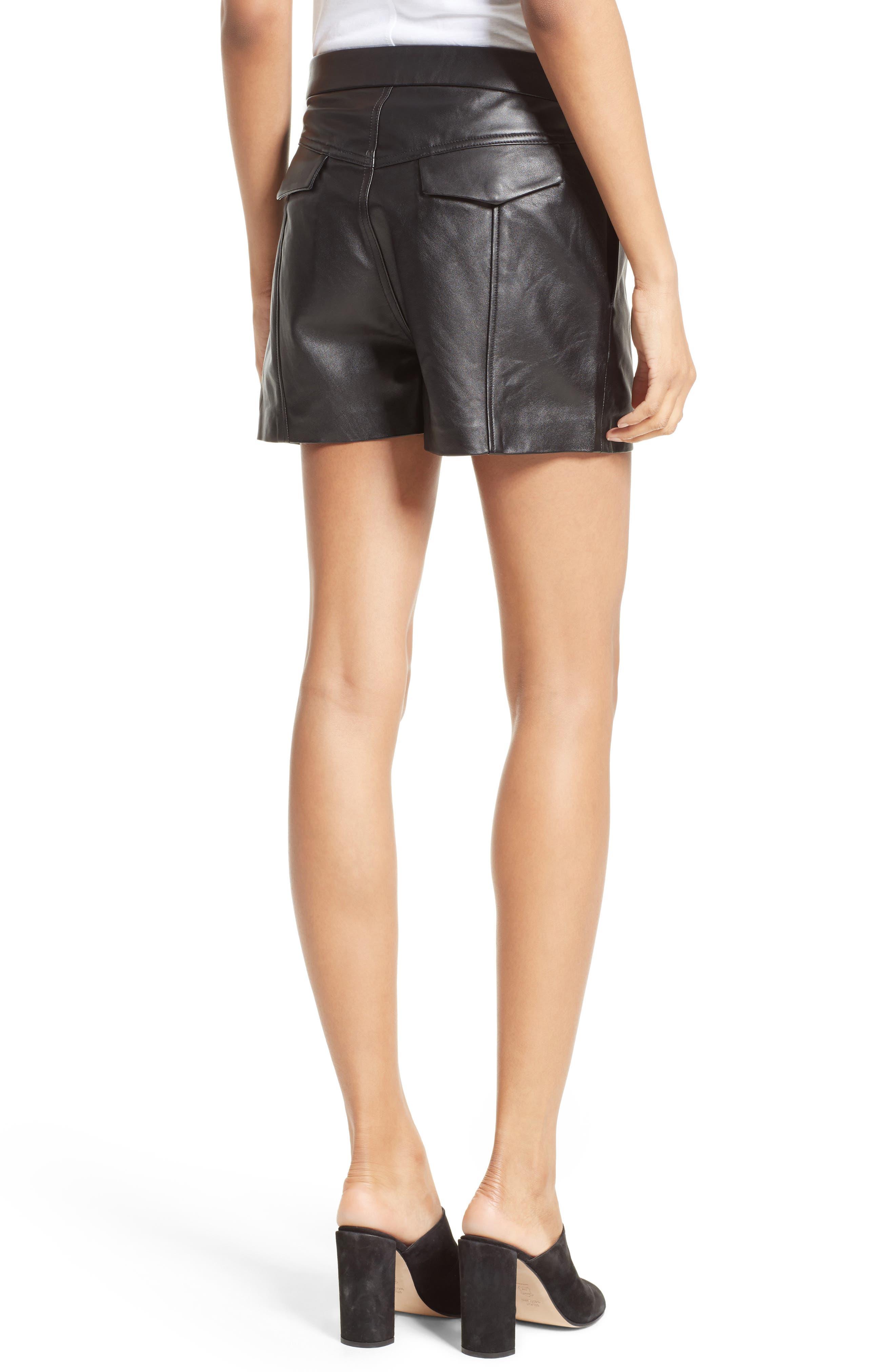 Leather Shorts,                             Alternate thumbnail 2, color,