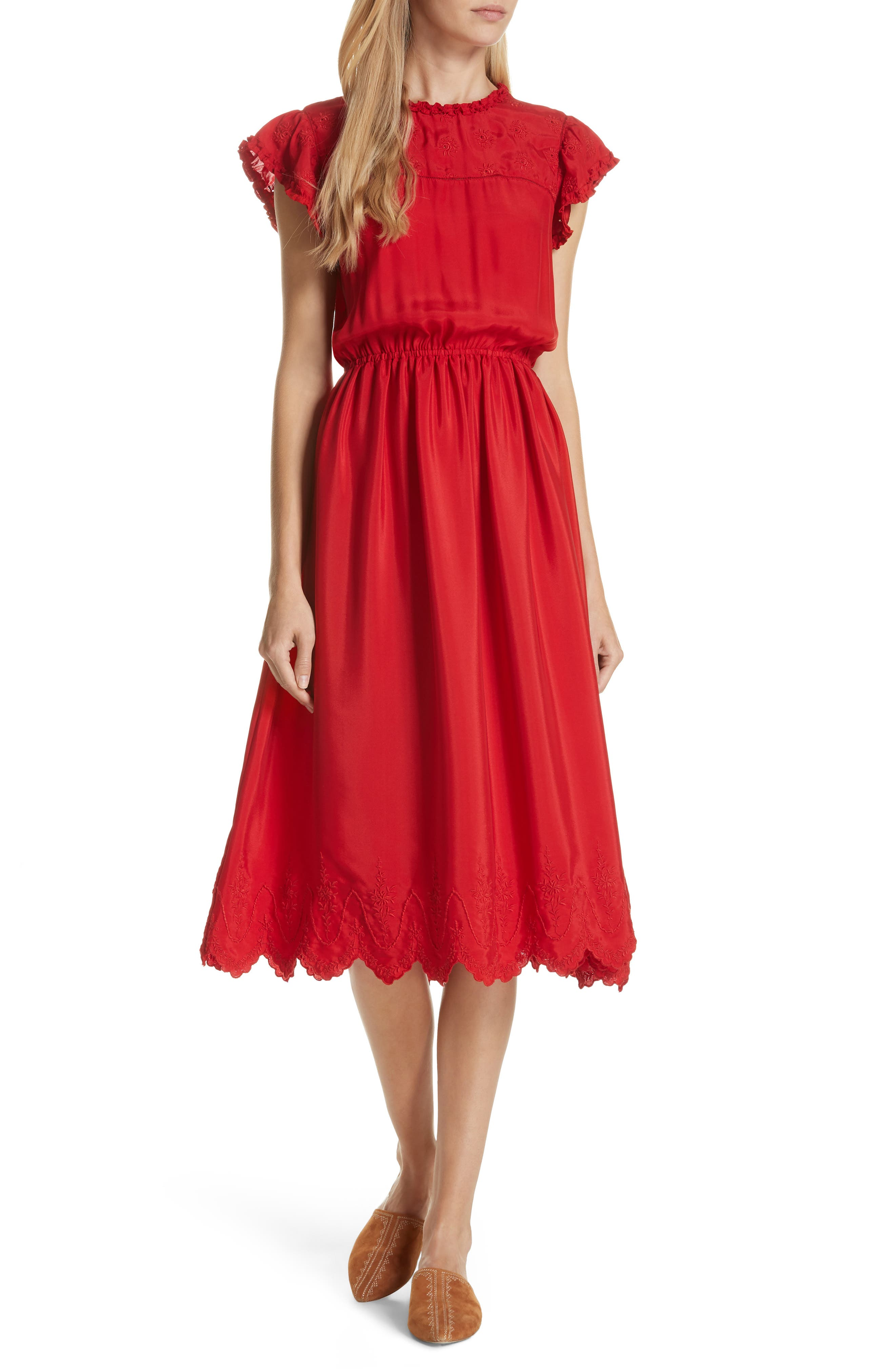Moonlight Embroidered Silk Dress,                         Main,                         color, VALENTINE
