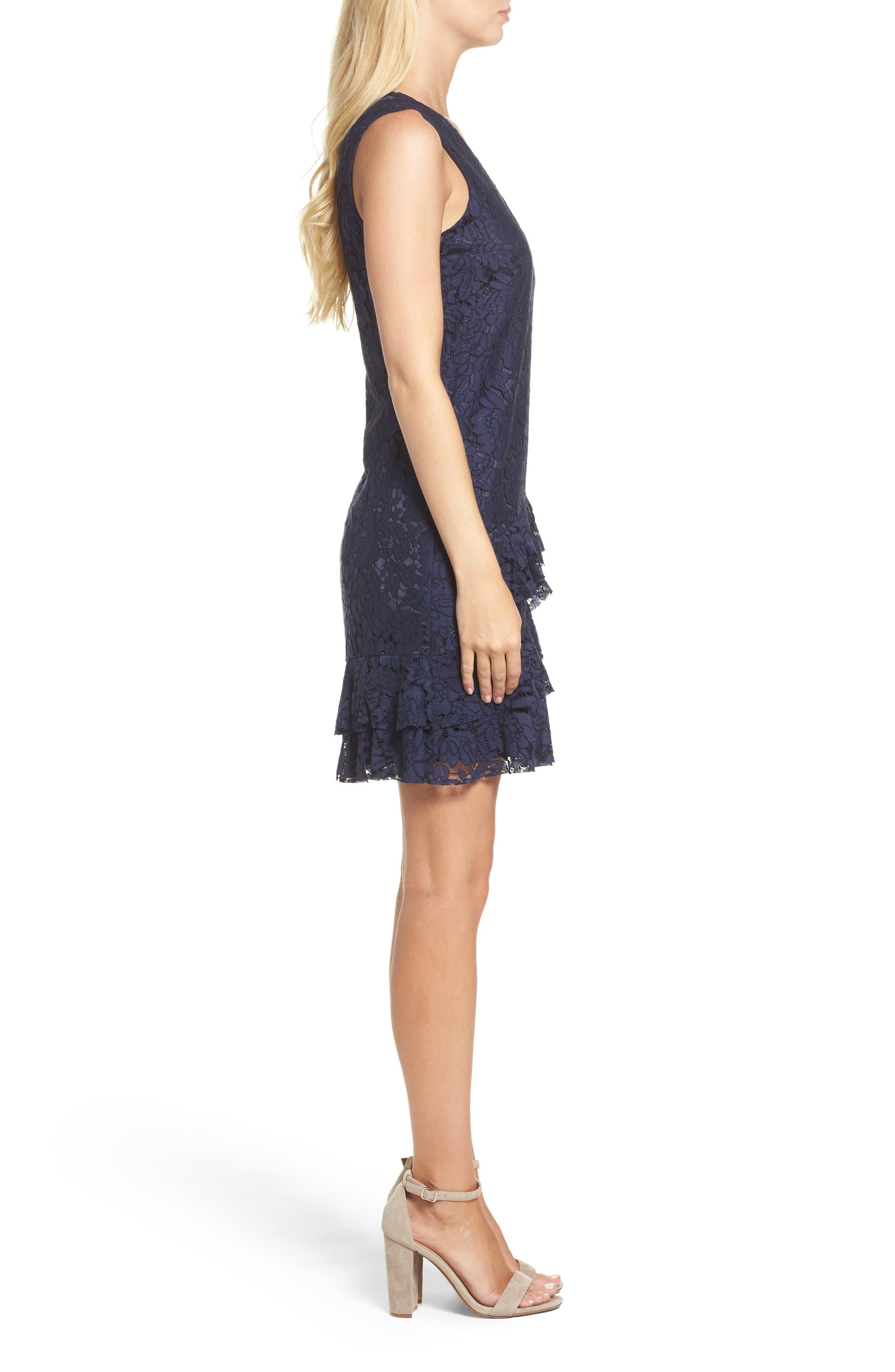 Ruffle Lace Shift Dress,                             Alternate thumbnail 3, color,                             410