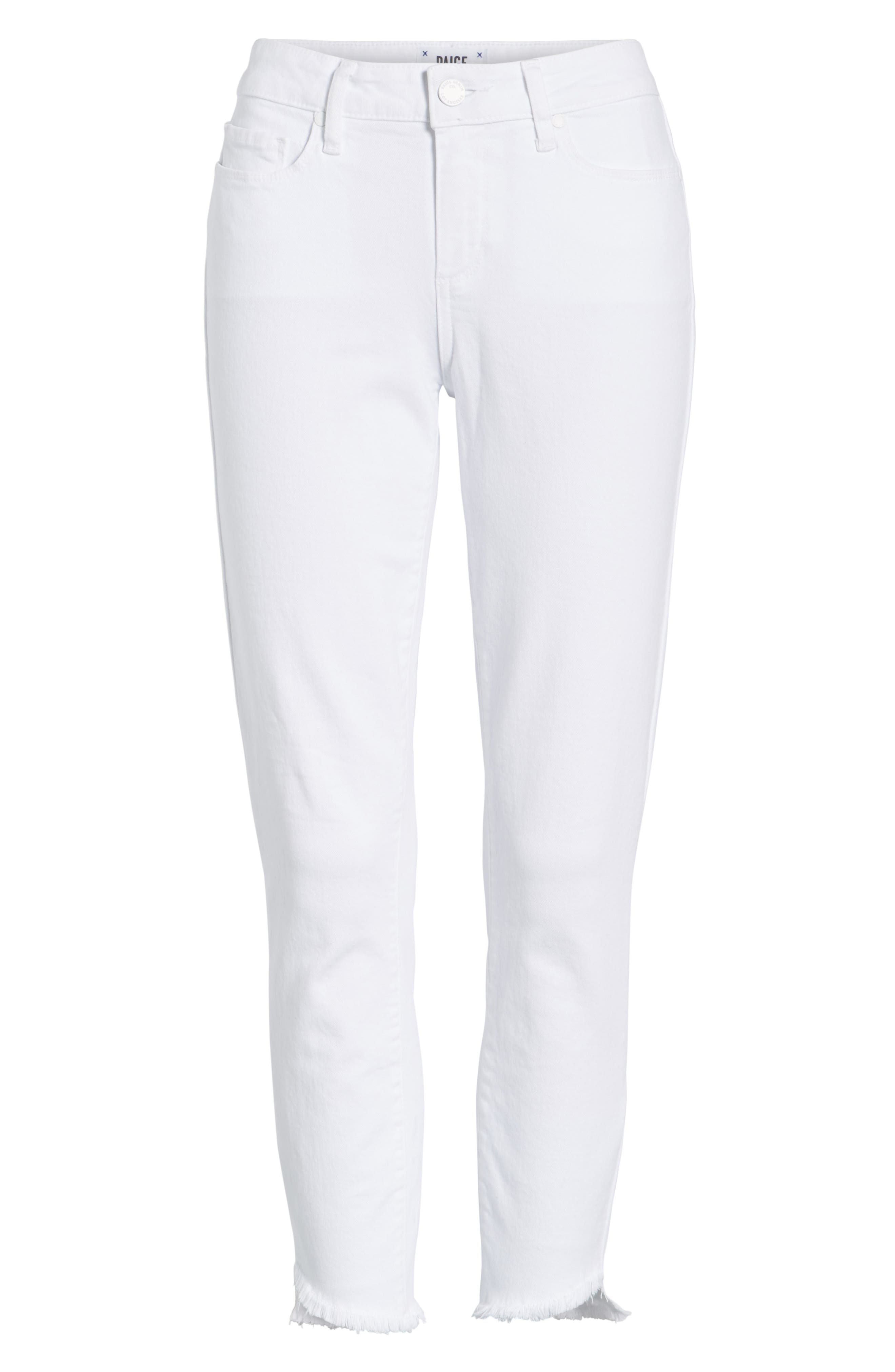 Verdugo Slanted Crop Skinny Jeans,                             Alternate thumbnail 7, color,                             CRISP WHITE