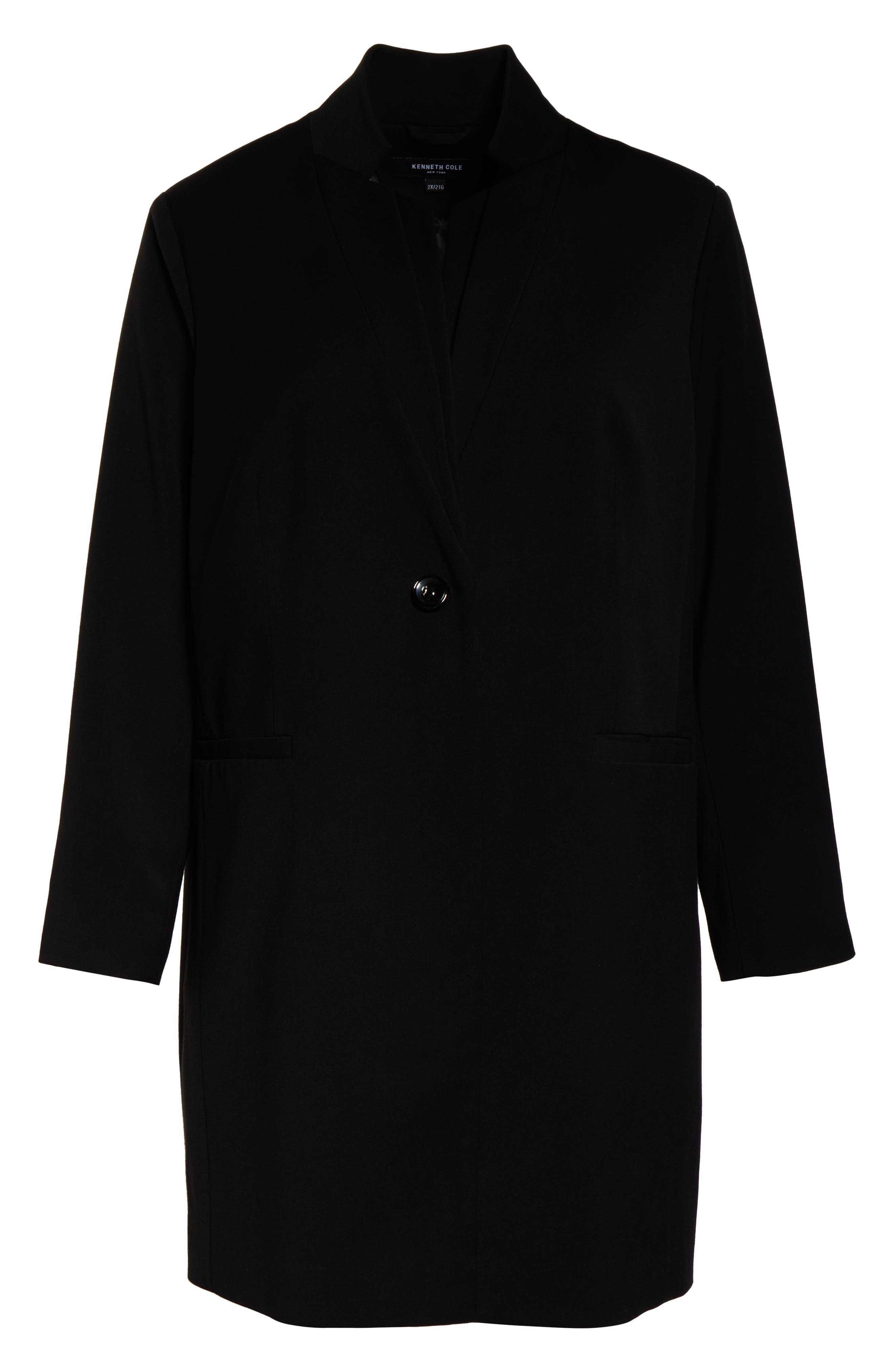 KENNETH COLE NEW YORK,                             Inverted Collar Ponte Jacket,                             Alternate thumbnail 5, color,                             BLACK