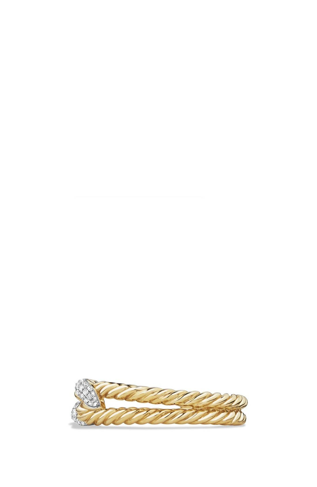 'Petite Pavé' Loop Ring with Diamonds in 18K Gold,                             Alternate thumbnail 3, color,                             GOLD