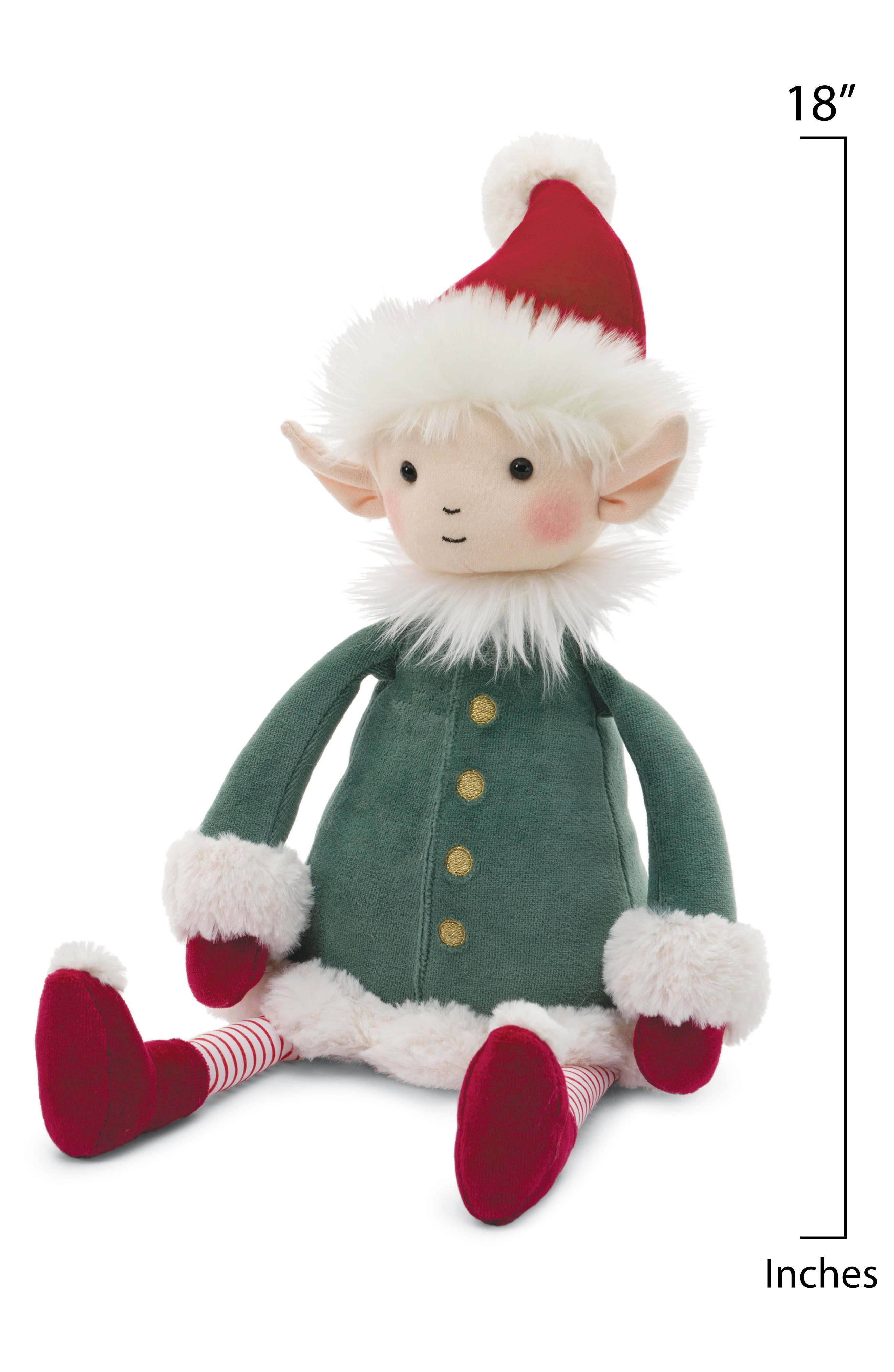 Elf Stuffed Doll,                             Alternate thumbnail 2, color,                             GREEN/ RED
