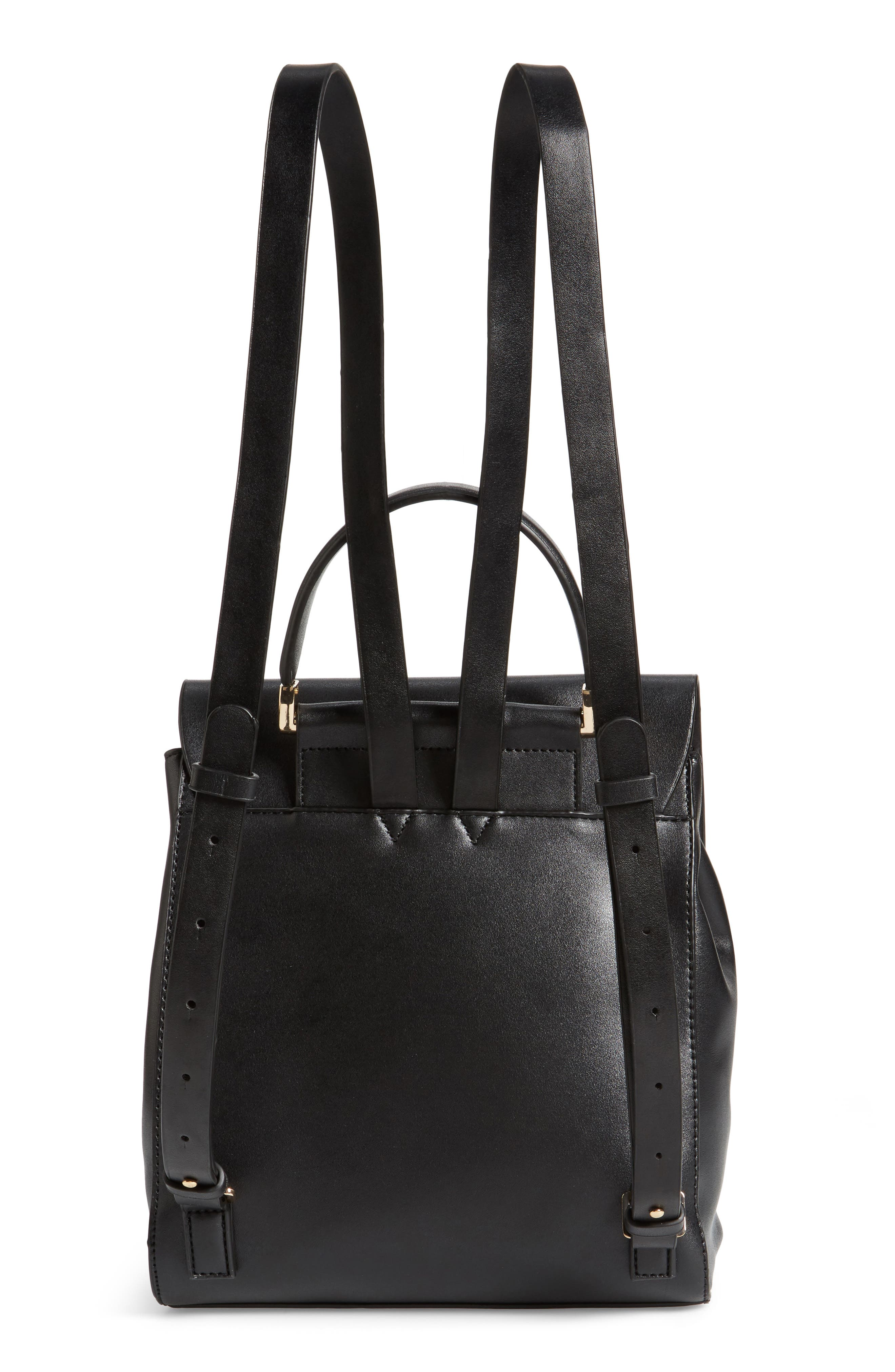 Mini Scandi Faux Leather Backpack,                             Alternate thumbnail 3, color,                             001