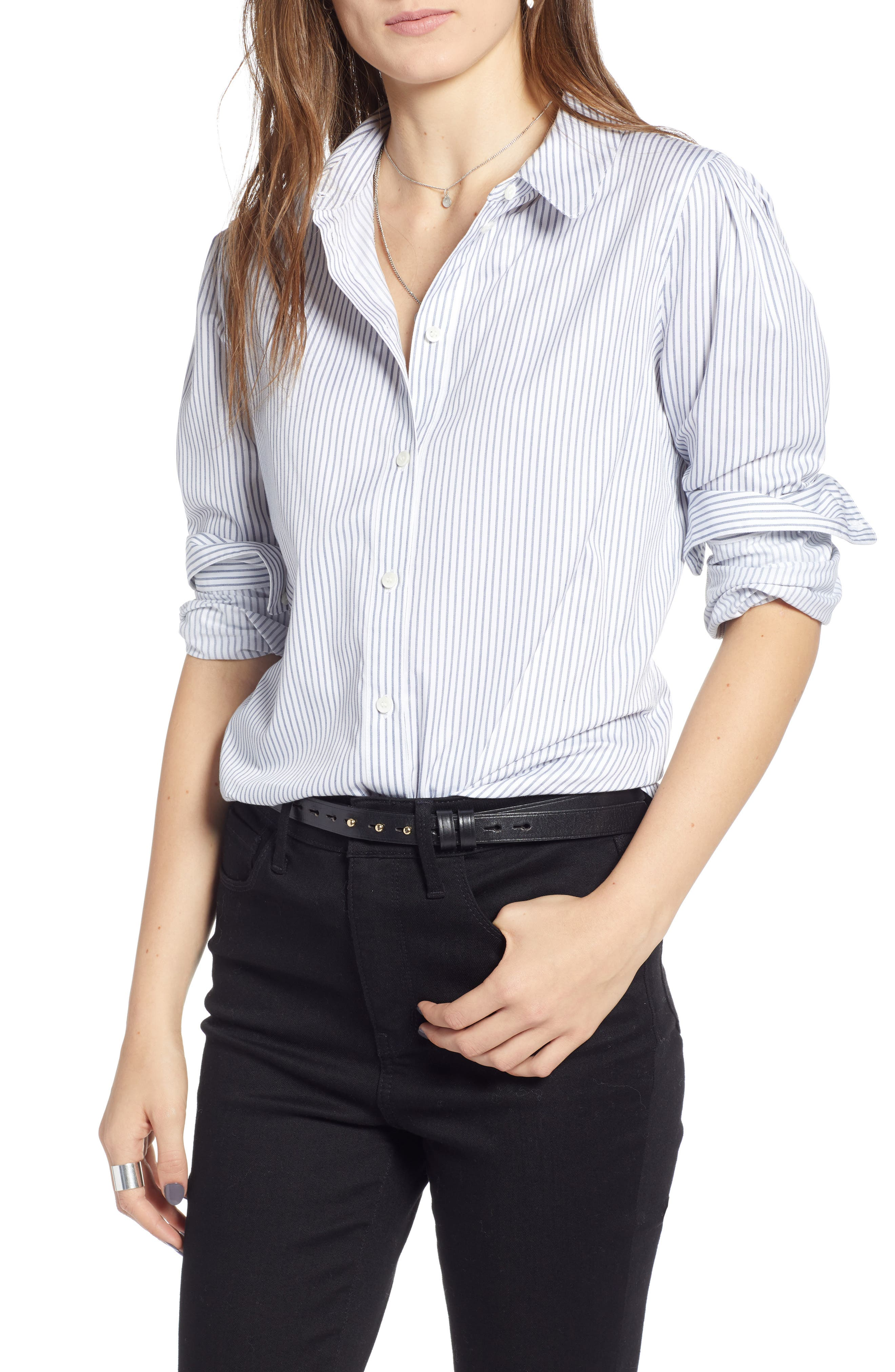 Pleated Sleeve Stripe Shirt,                             Main thumbnail 1, color,                             WHITE STOCKHOLM STRIPE