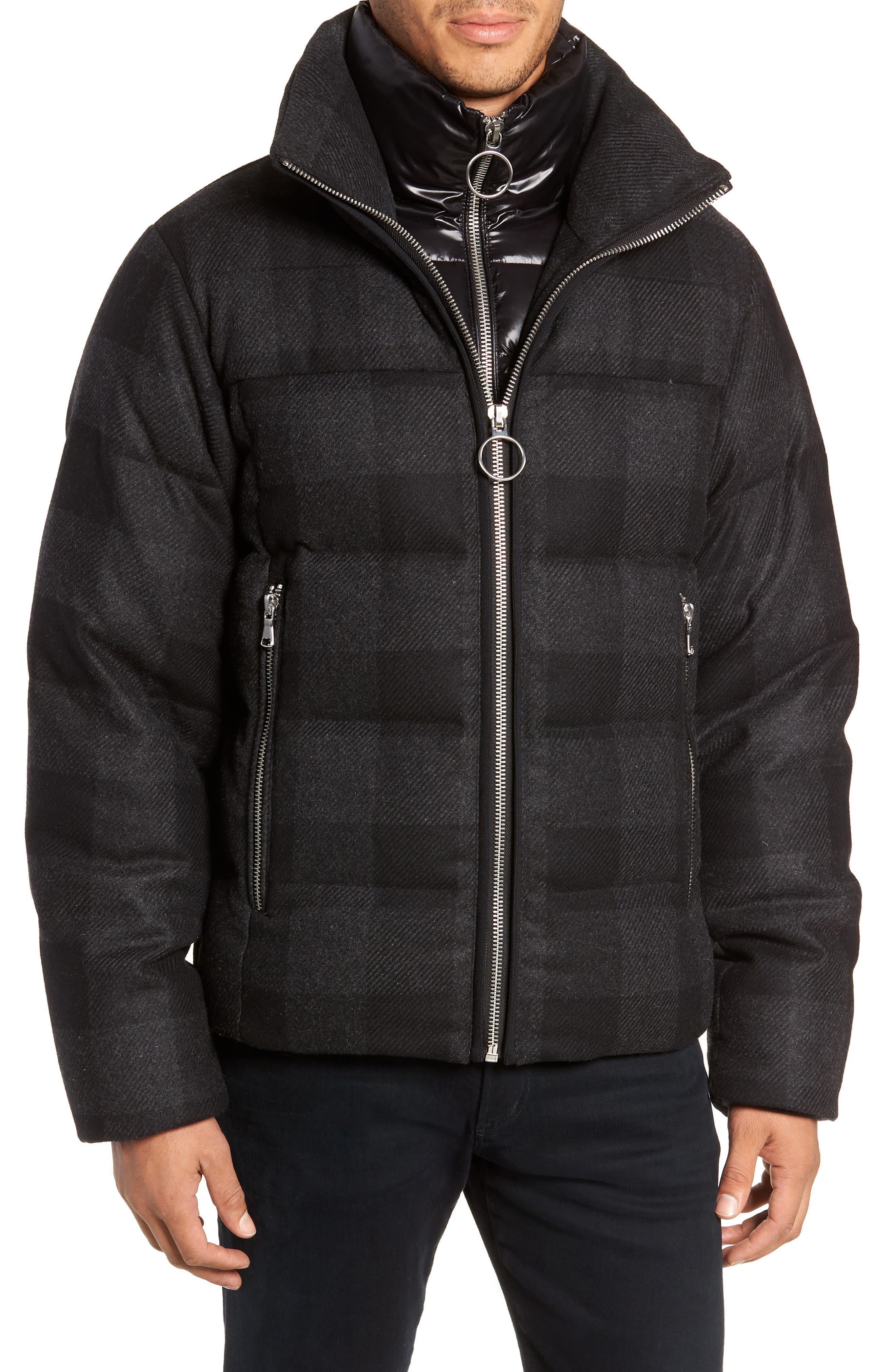 Crosby Plaid Wool Bib Puffer Jacket,                             Alternate thumbnail 4, color,                             CHARCOAL/ BLACK PLAID