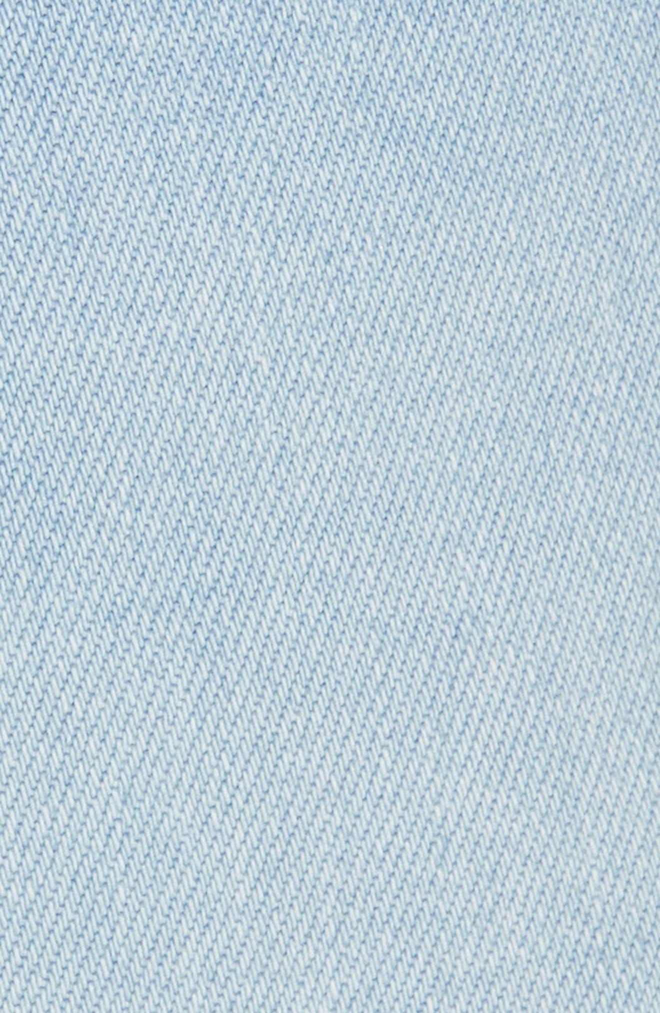 Scallop Waist Denim Shorts,                             Alternate thumbnail 5, color,                             WRIGHT