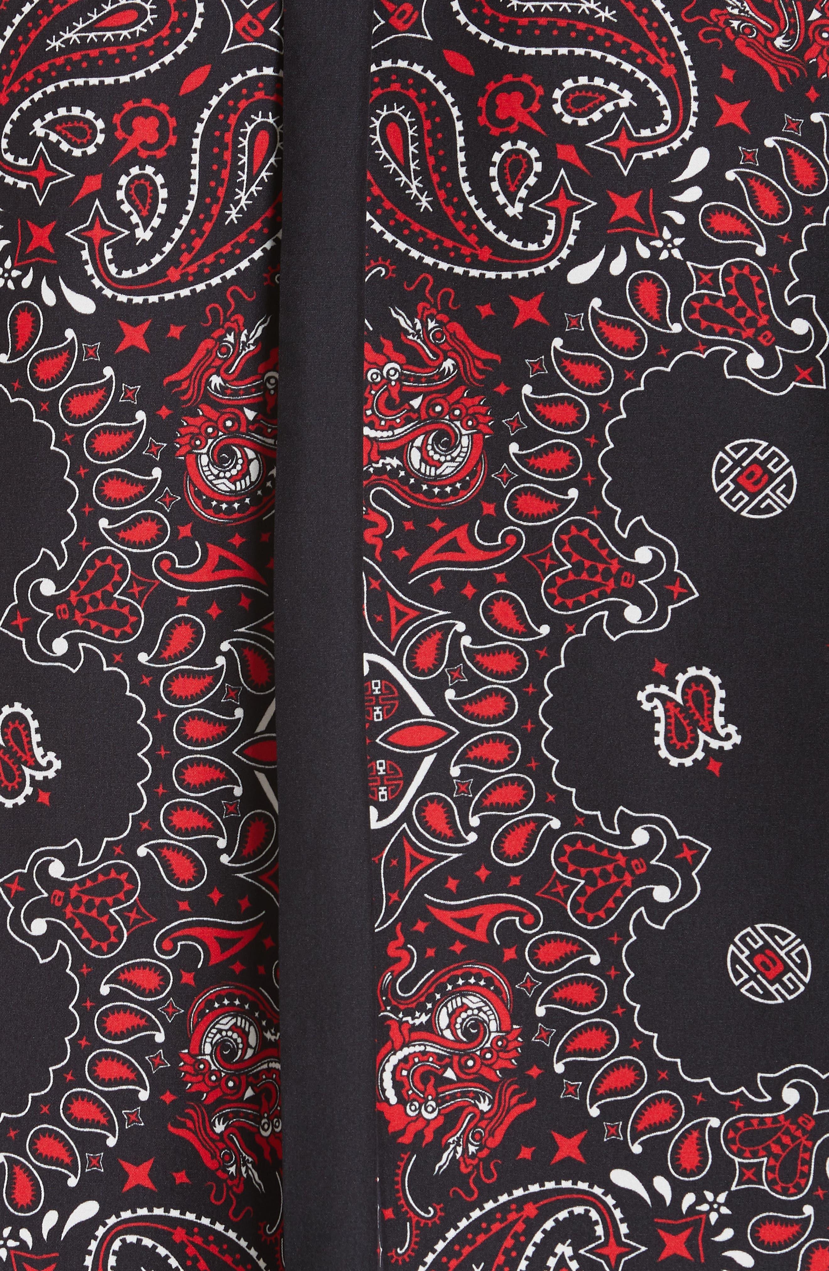 ALEXANDER WANG,                             Bandana Print Silk Shirt,                             Alternate thumbnail 6, color,                             BLACK/ RED