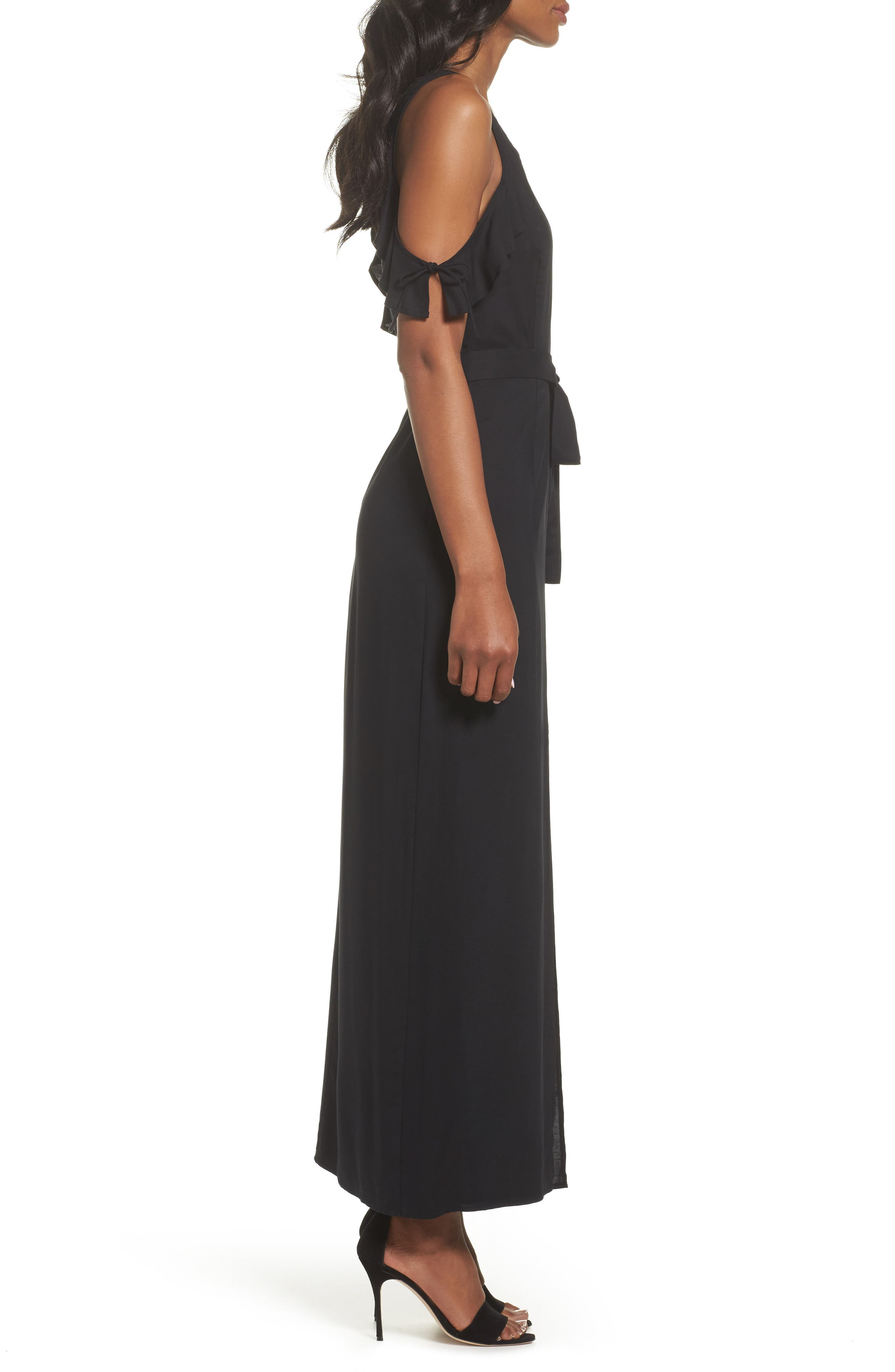 Lystra Cold Shoulder Maxi Dress,                             Alternate thumbnail 3, color,                             001