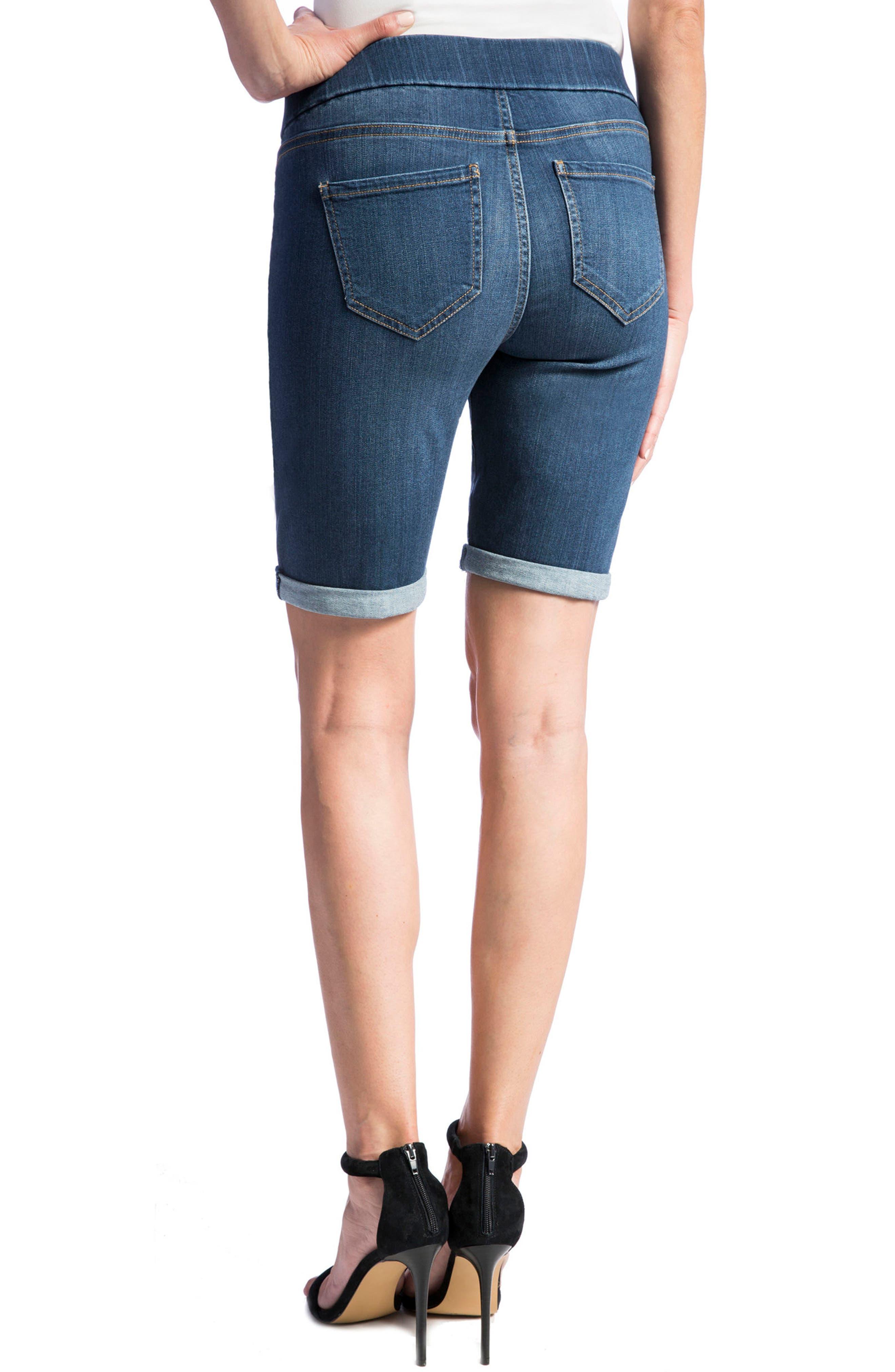 Sienna Pull-On Denim Bermuda Shorts,                             Alternate thumbnail 2, color,                             ELYSIAN DARK