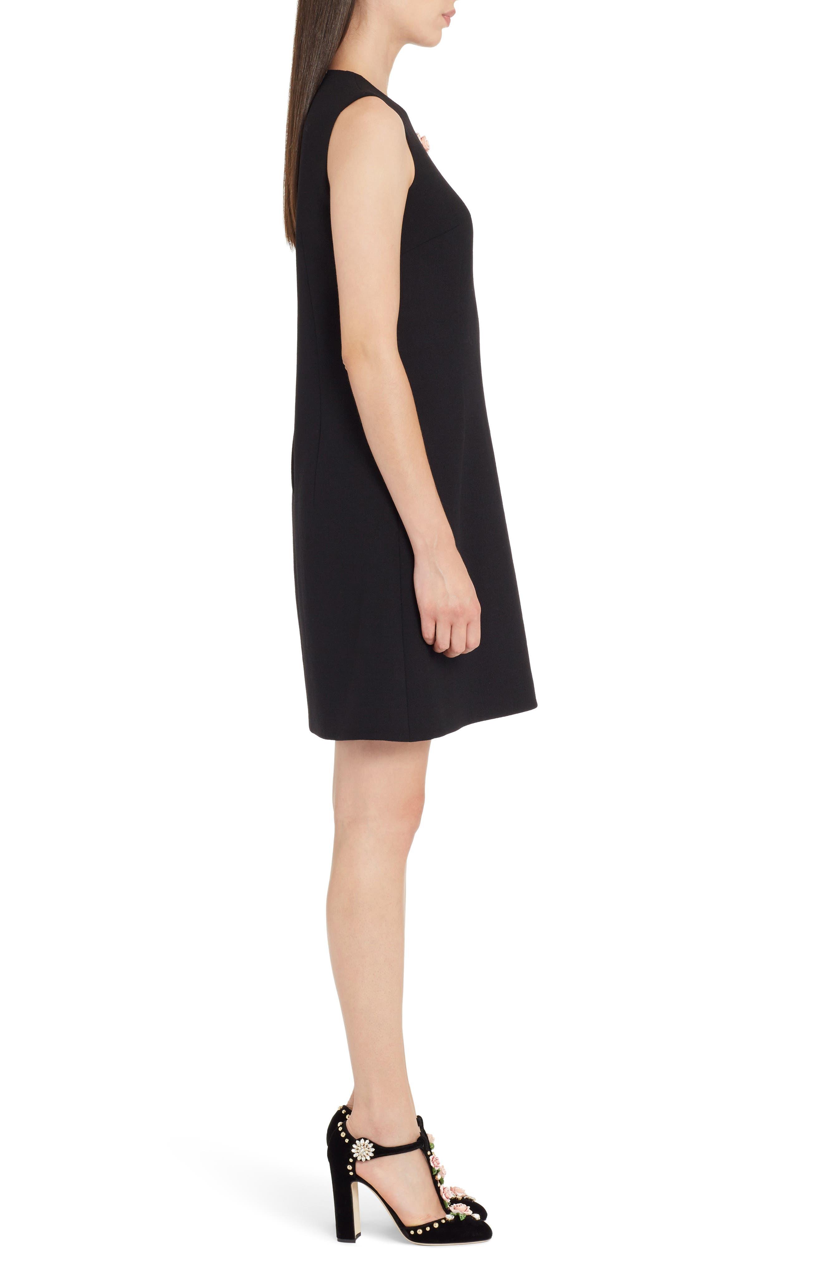 Sequin Logo Crepe A-Line Dress,                             Alternate thumbnail 3, color,                             BLACK