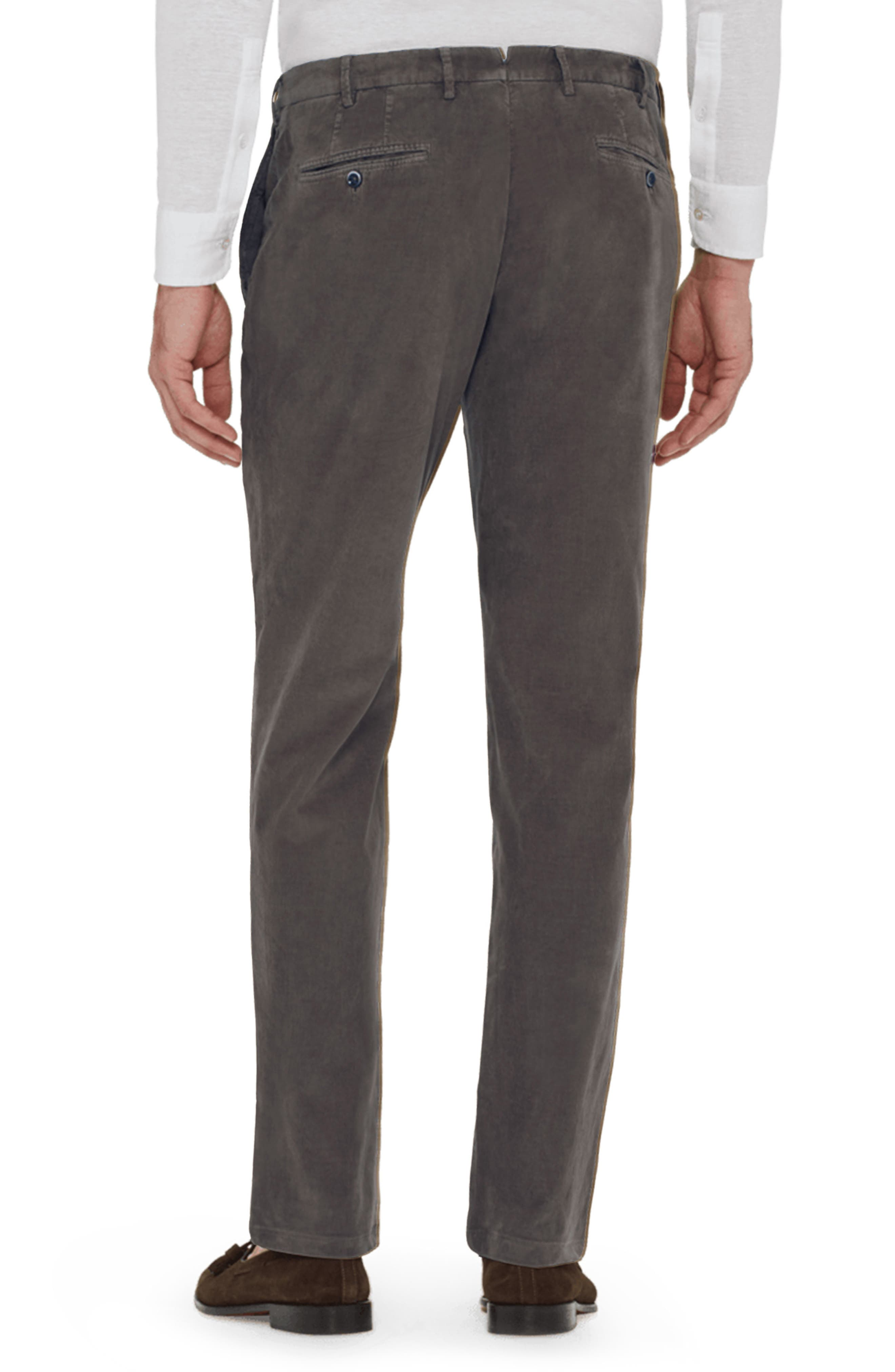 Curtis Flat Front Stretch Corduroy Cotton Trousers,                             Alternate thumbnail 2, color,                             GREY