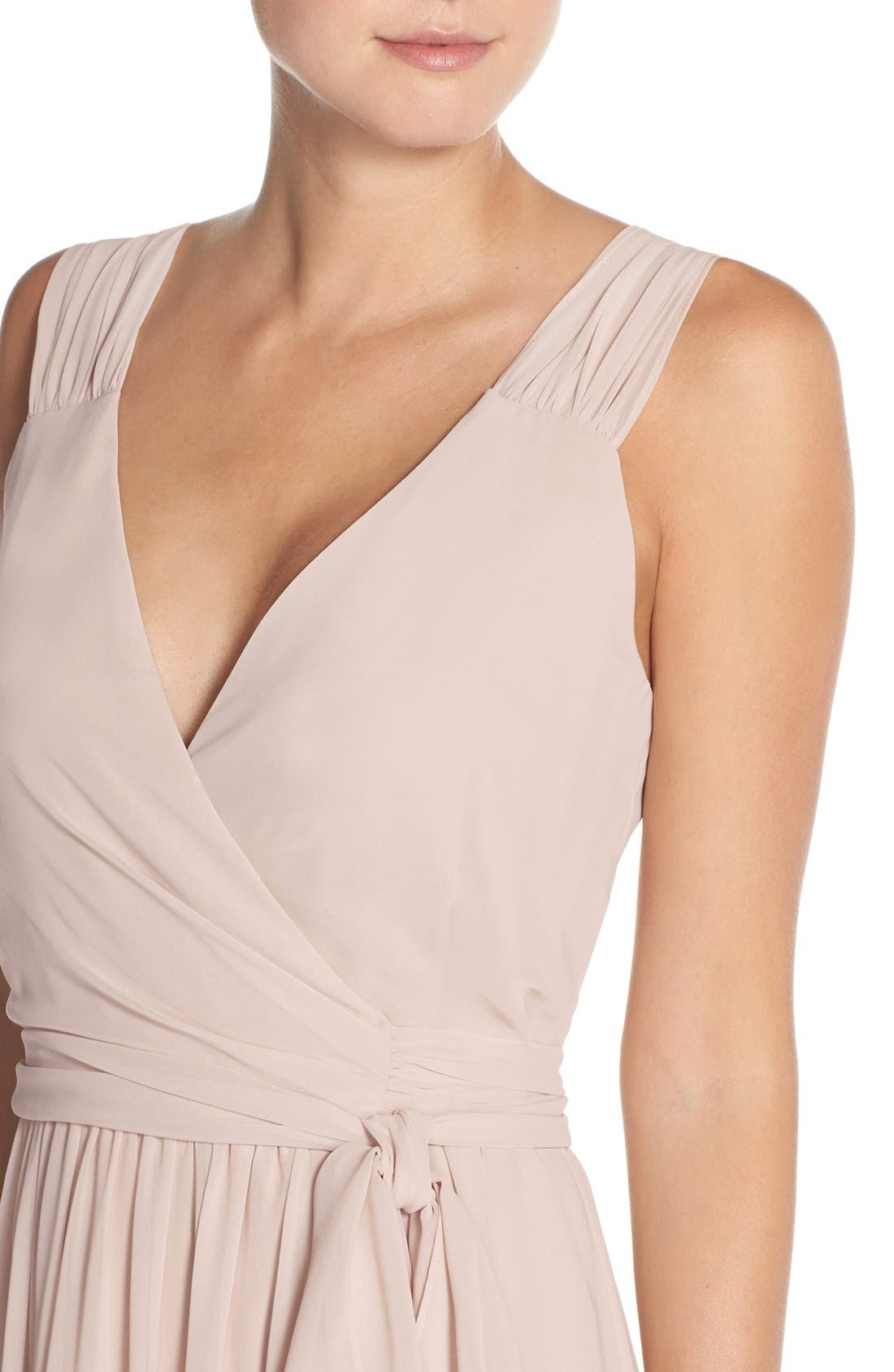 Newbury Gathered Sleeve Chiffon Wrap Gown,                             Alternate thumbnail 14, color,