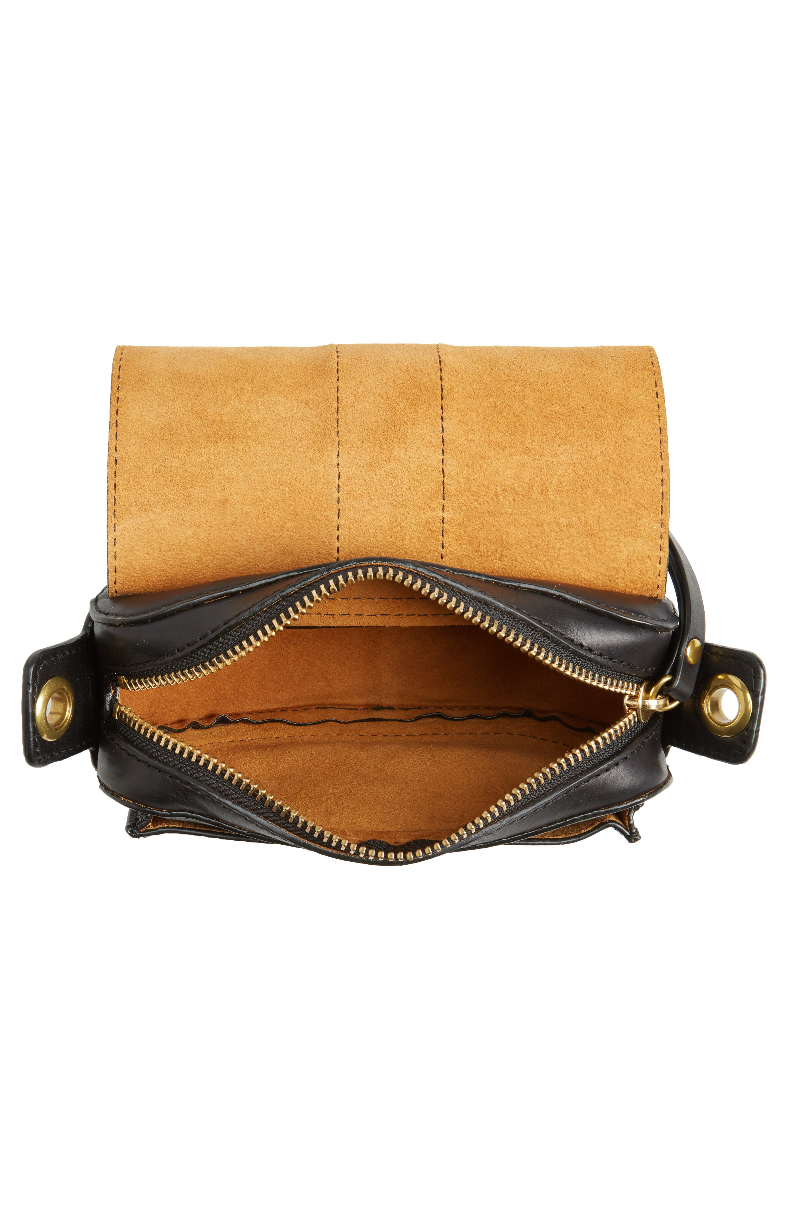Mini Ilana Harness Leather Saddle Bag,                             Alternate thumbnail 4, color,                             001