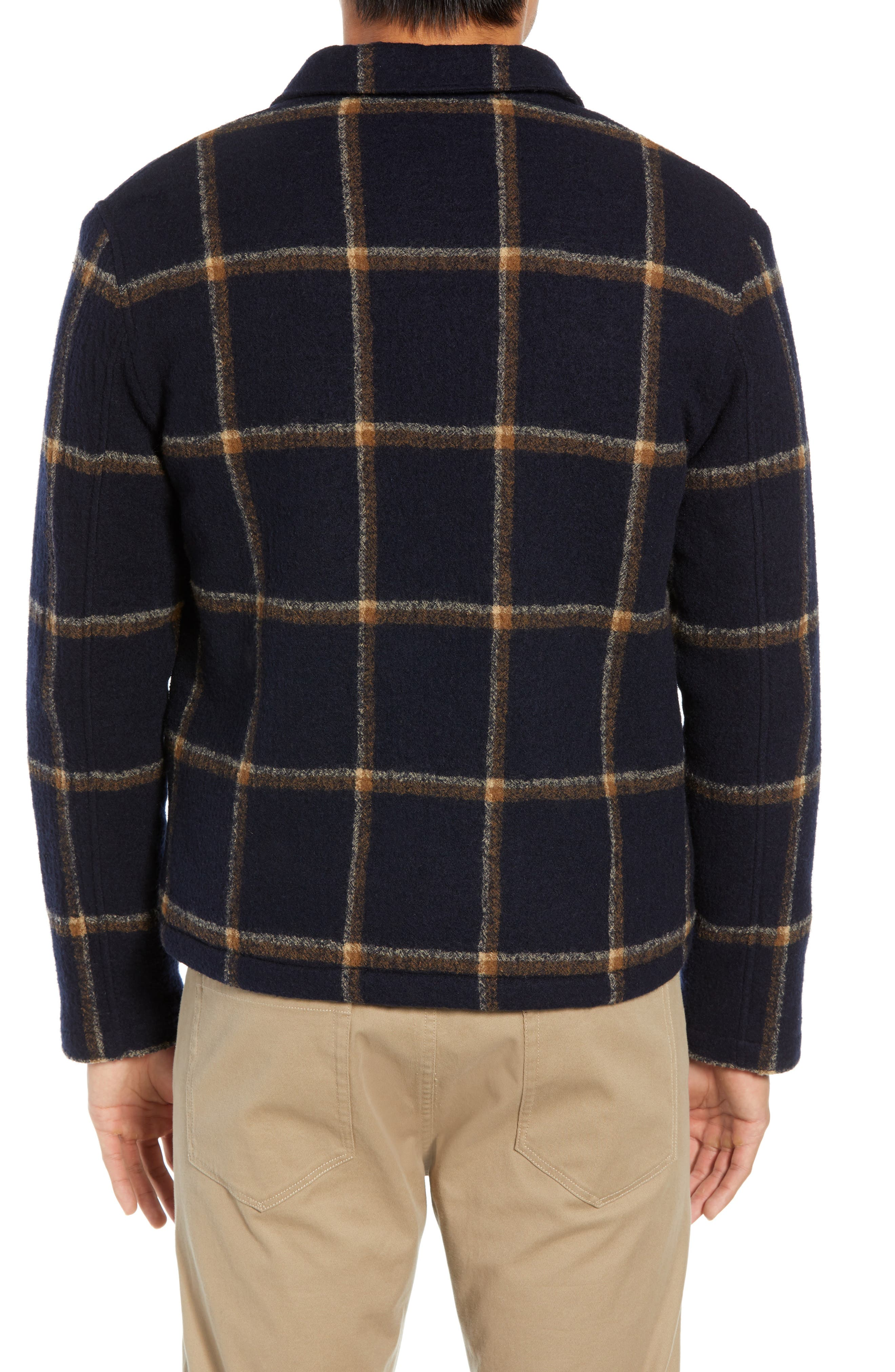 Regular Fit Faux Shearling Lined Check Wool Groundhog Jacket,                             Alternate thumbnail 2, color,                             NAVY