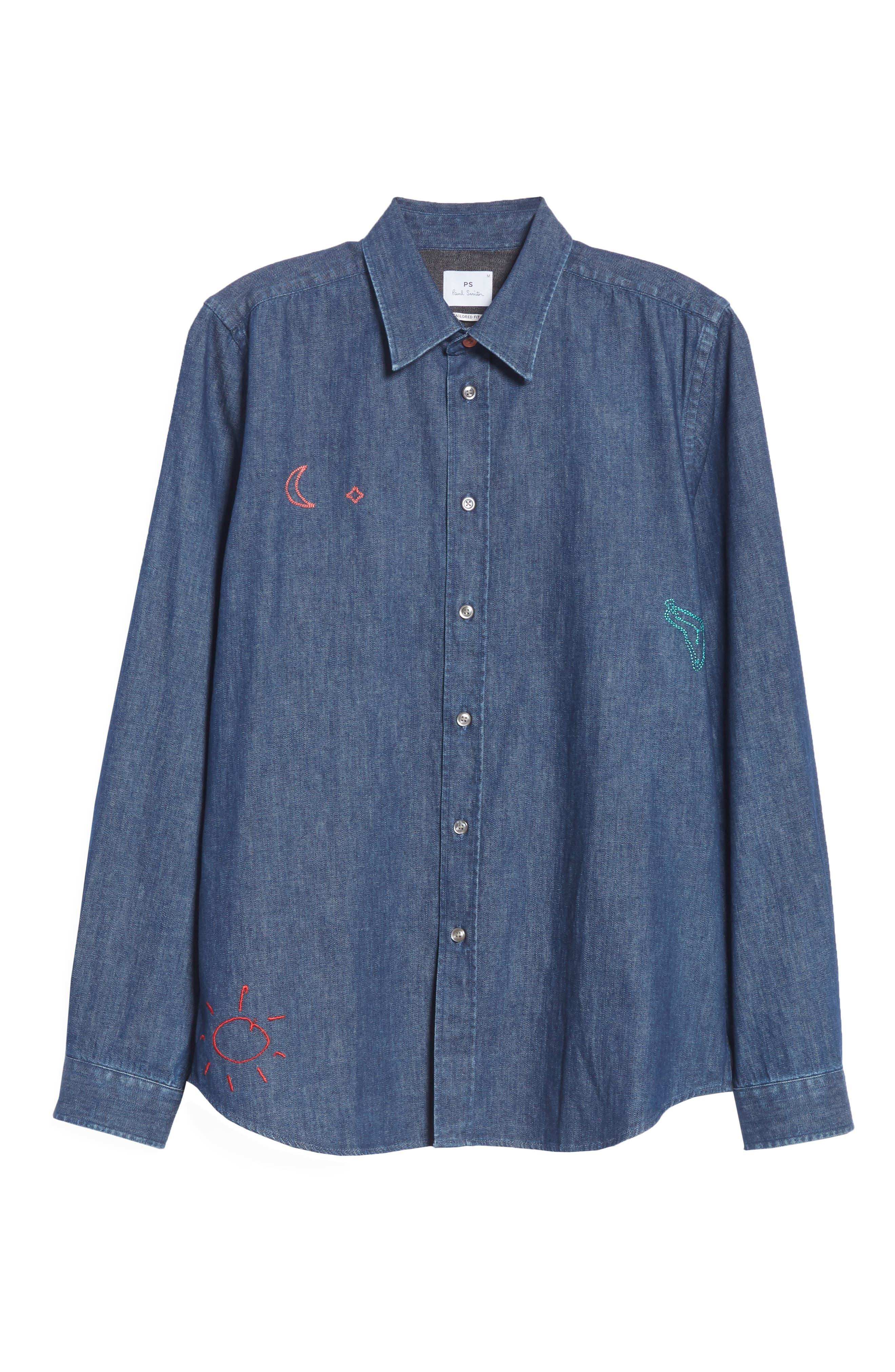 PS PAUL SMITH,                             Denim Shirt with Embroidery,                             Alternate thumbnail 6, color,                             427