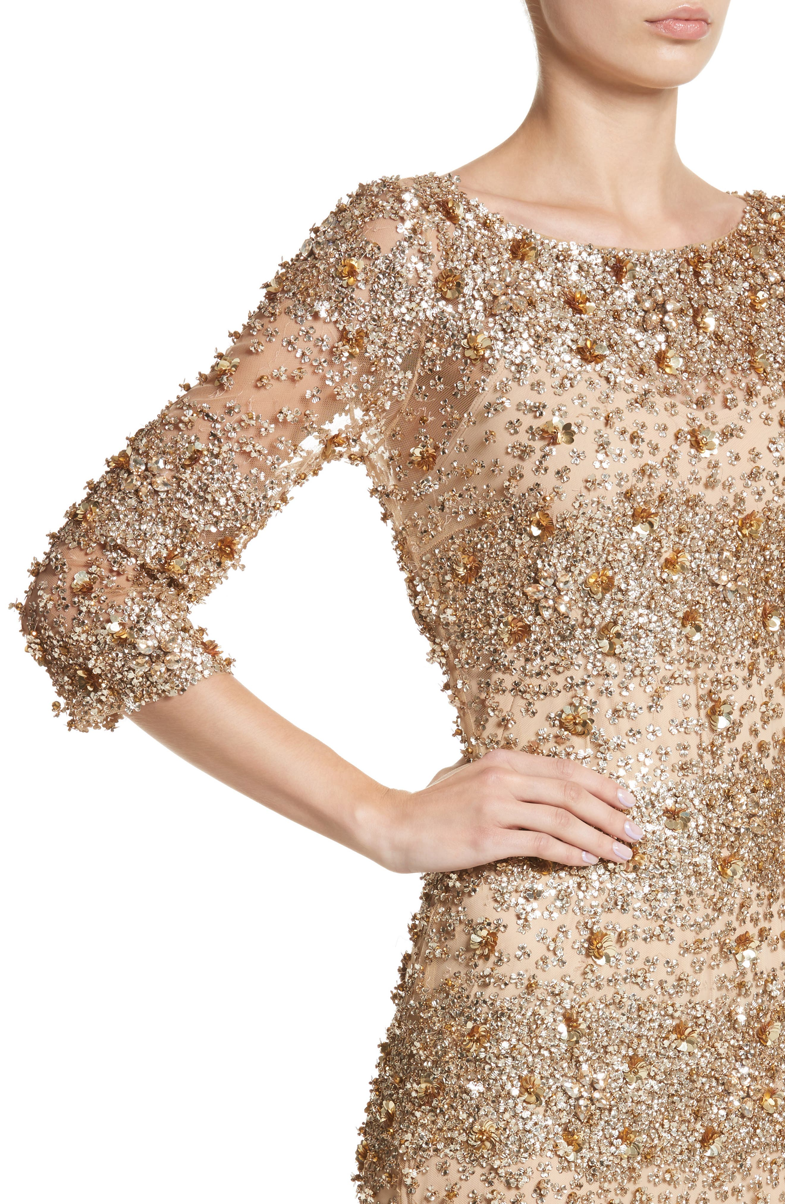 Embellished Dégradé Sheath Dress,                             Alternate thumbnail 4, color,
