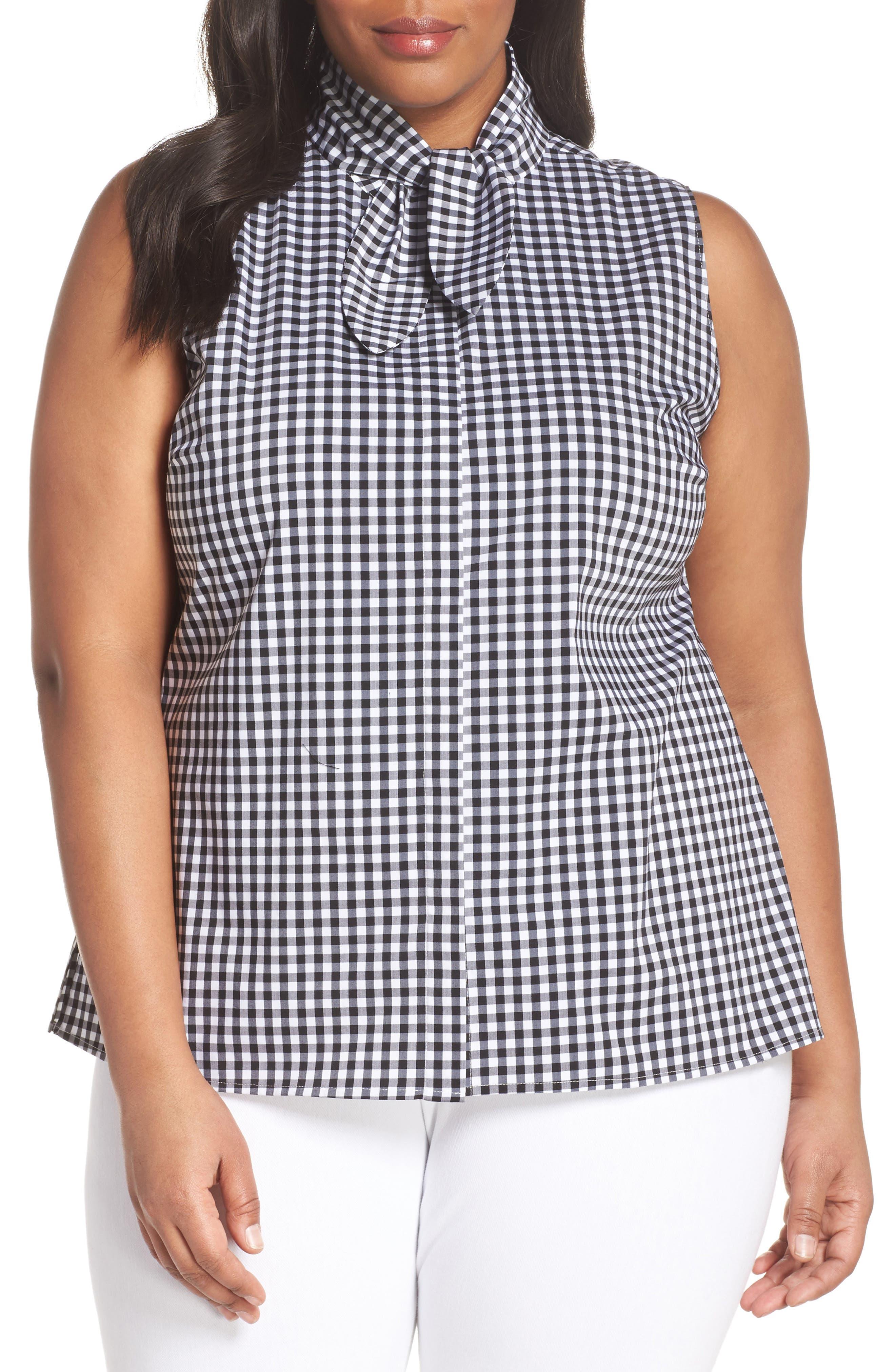 Tie Collar Cotton Blend Top,                         Main,                         color, 001