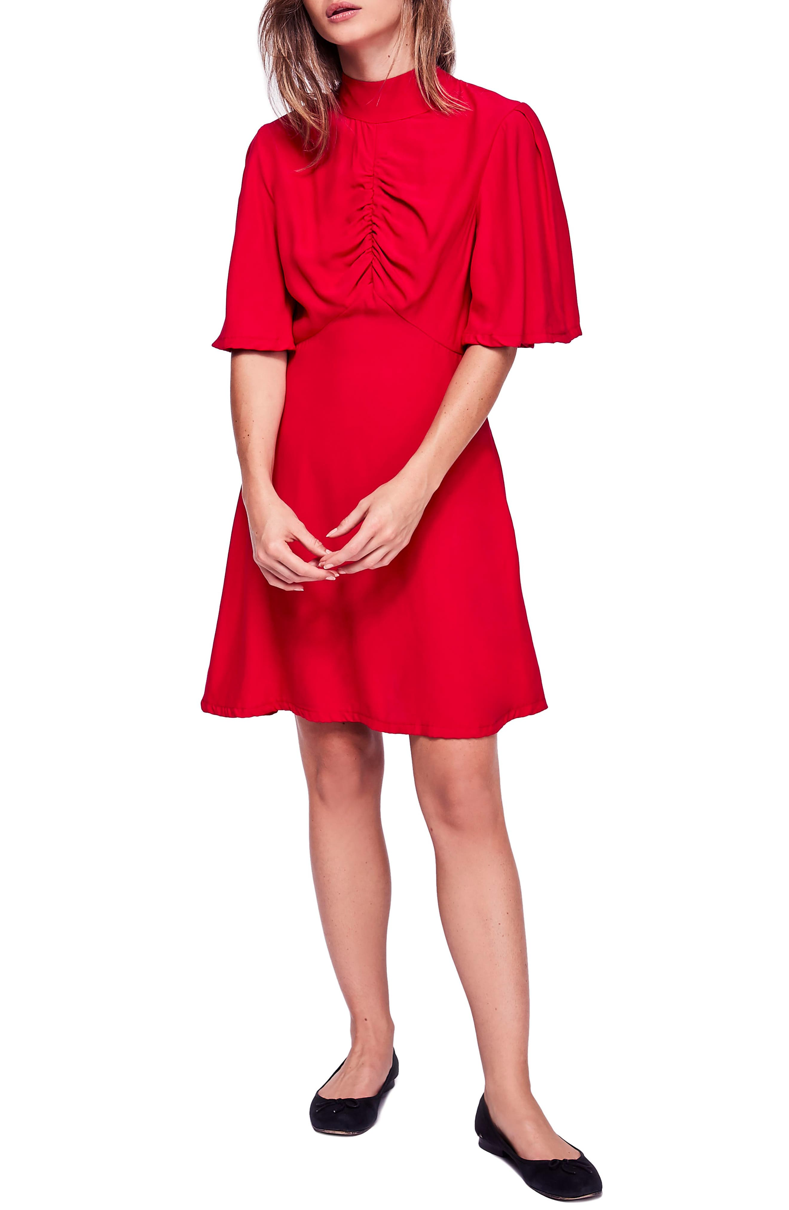 Free People Be My Baby Ruched Front Elbow Sleeve Dress, Red