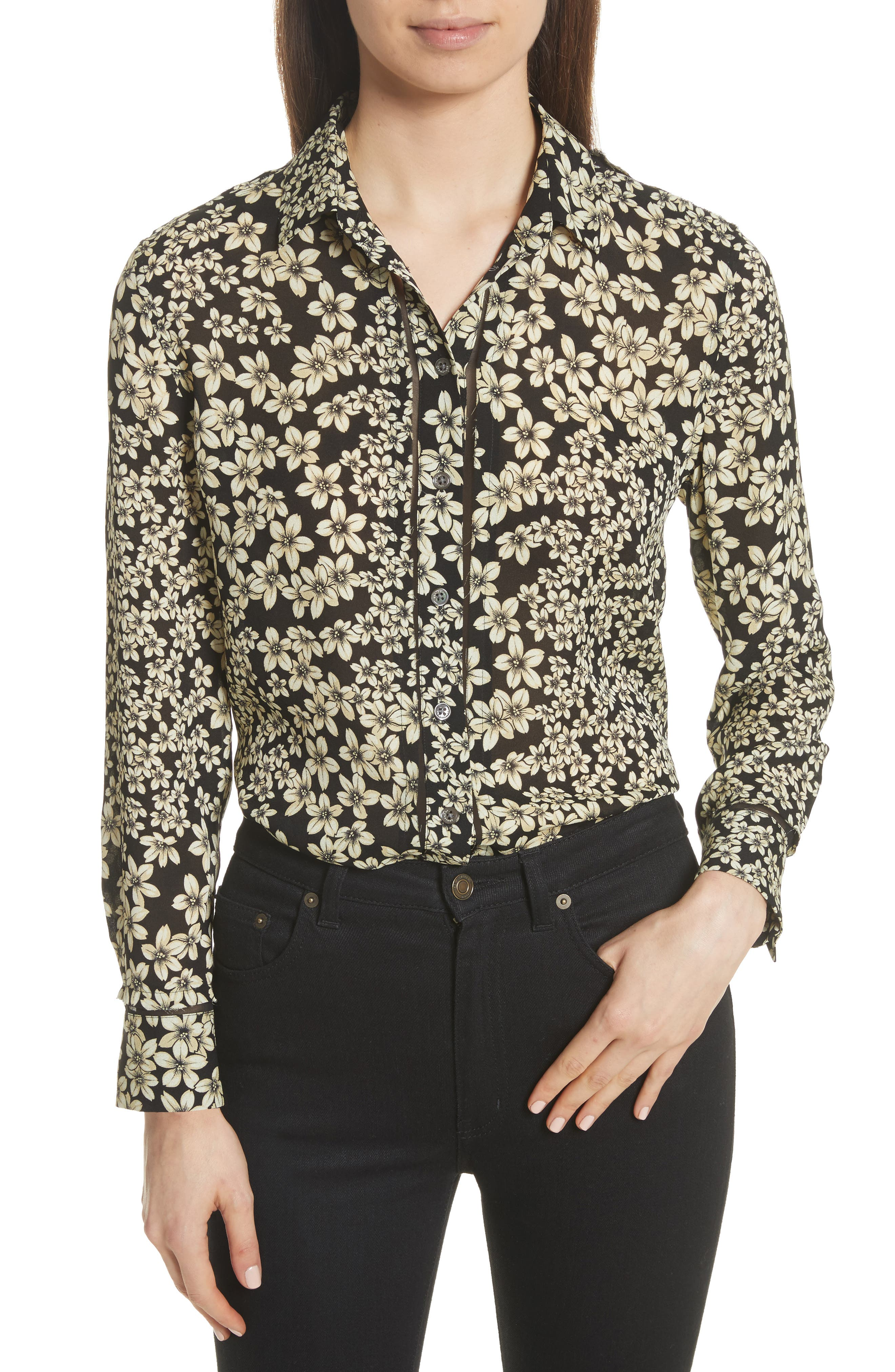 Leema Raw Edge Floral Silk Shirt,                         Main,                         color, 006