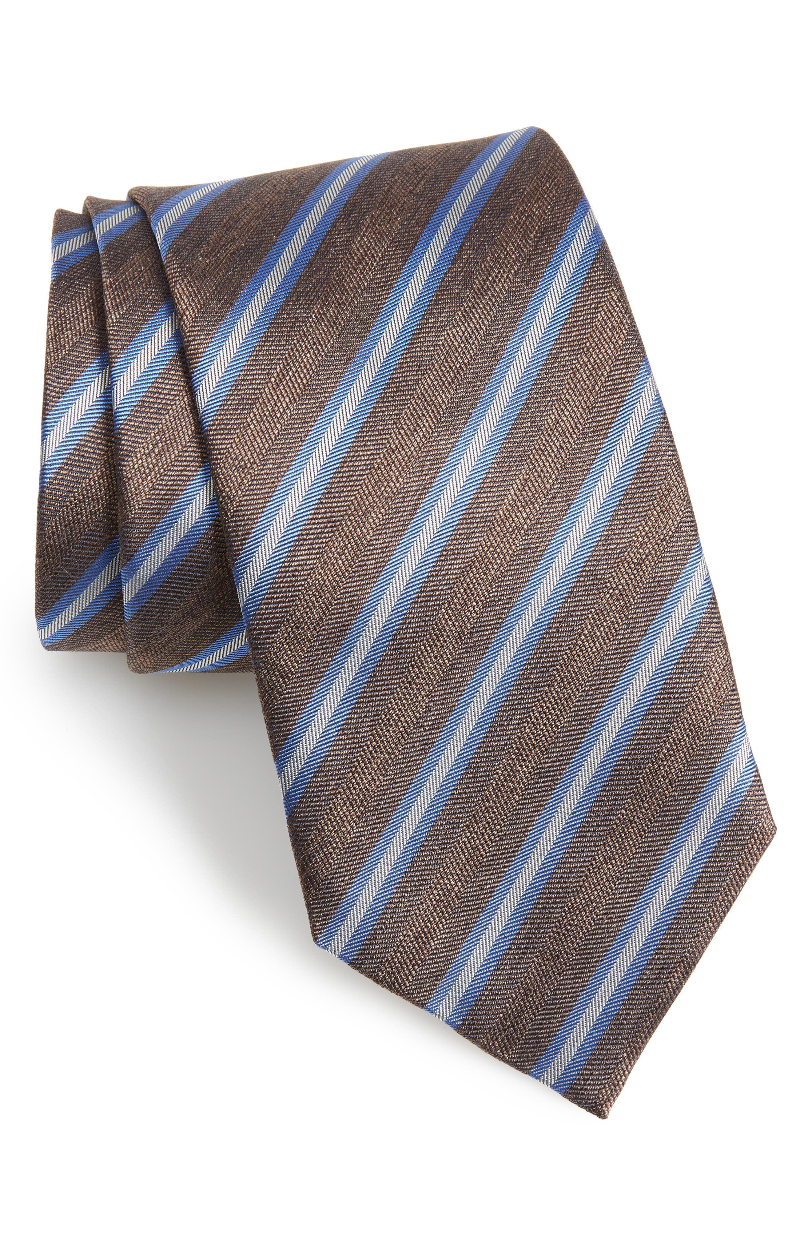 Stripe Silk & Cotton Tie,                         Main,                         color, CHOCOLATE