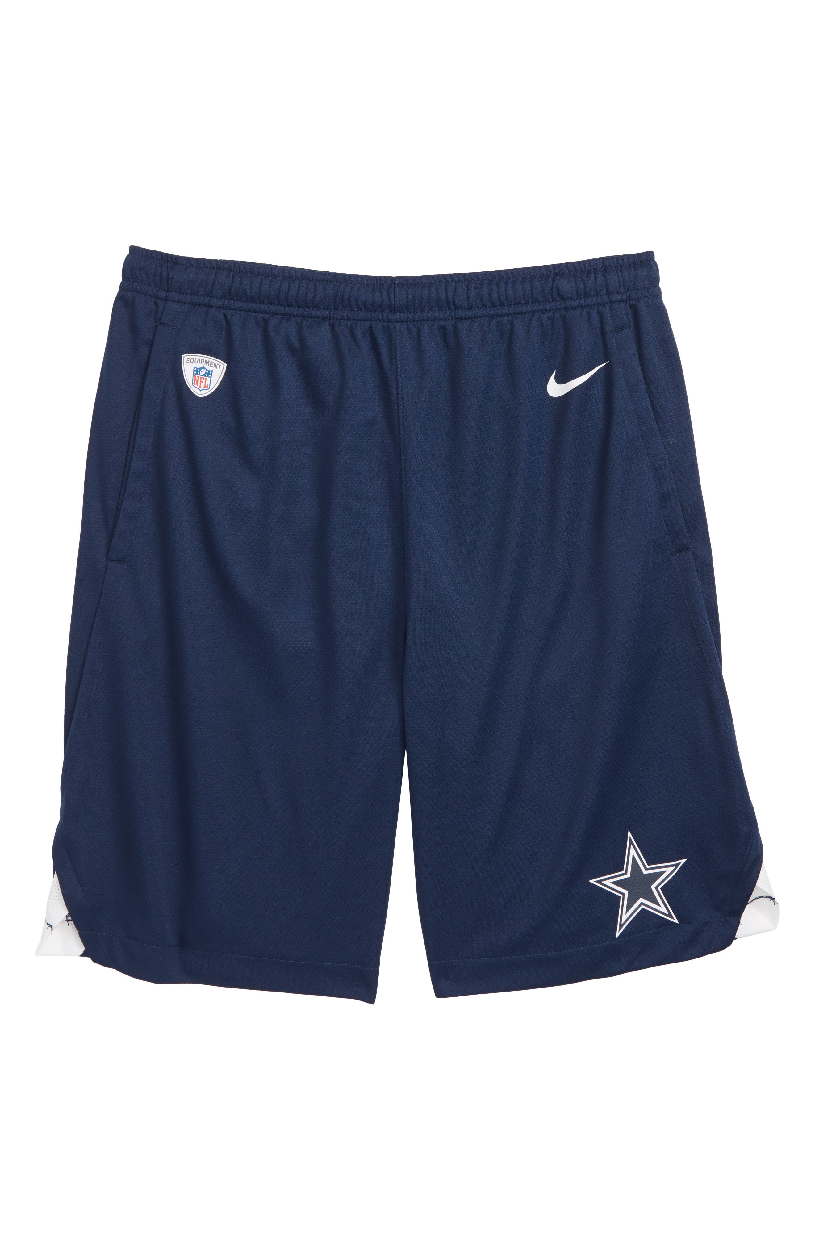 Nike NFL Dallas Cowboys Dry Knit Shorts,                             Main thumbnail 1, color,                             NAVY
