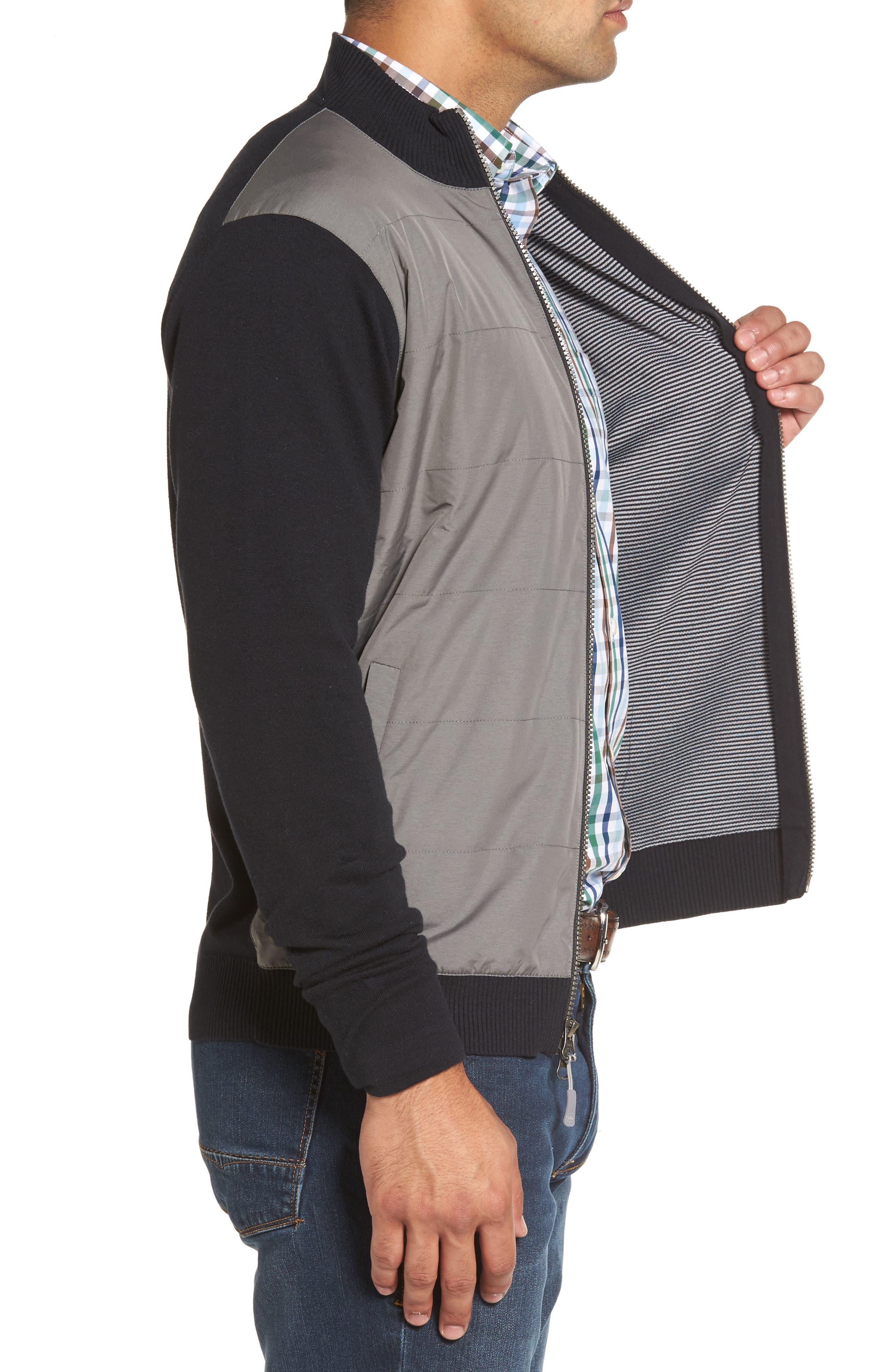 Patterson Zip Hybrid Jacket,                             Alternate thumbnail 3, color,                             001
