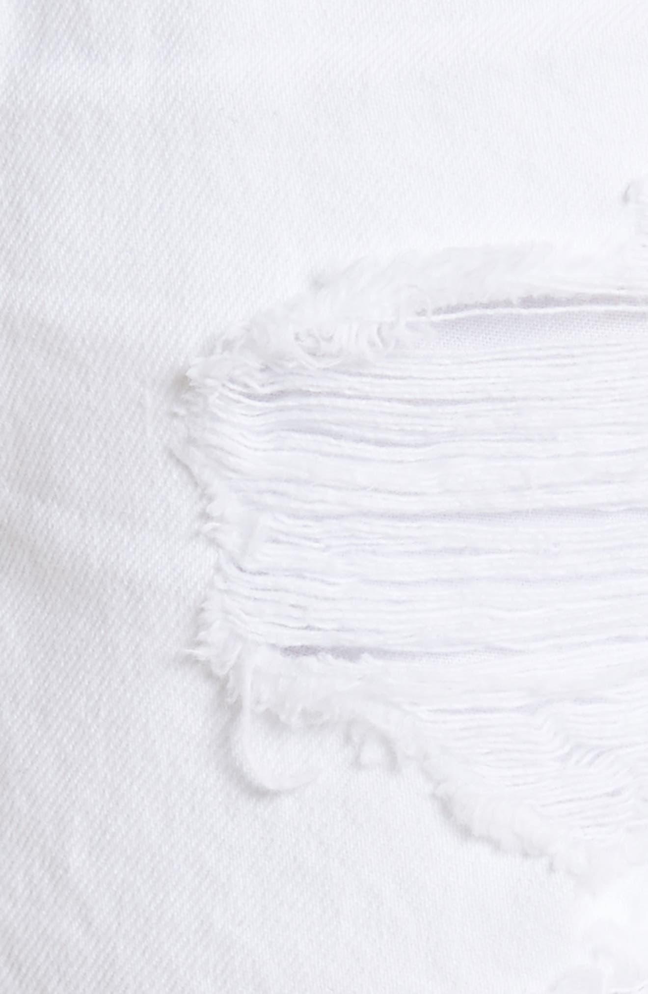 Bite White Ripped Denim Shorts,                             Alternate thumbnail 5, color,