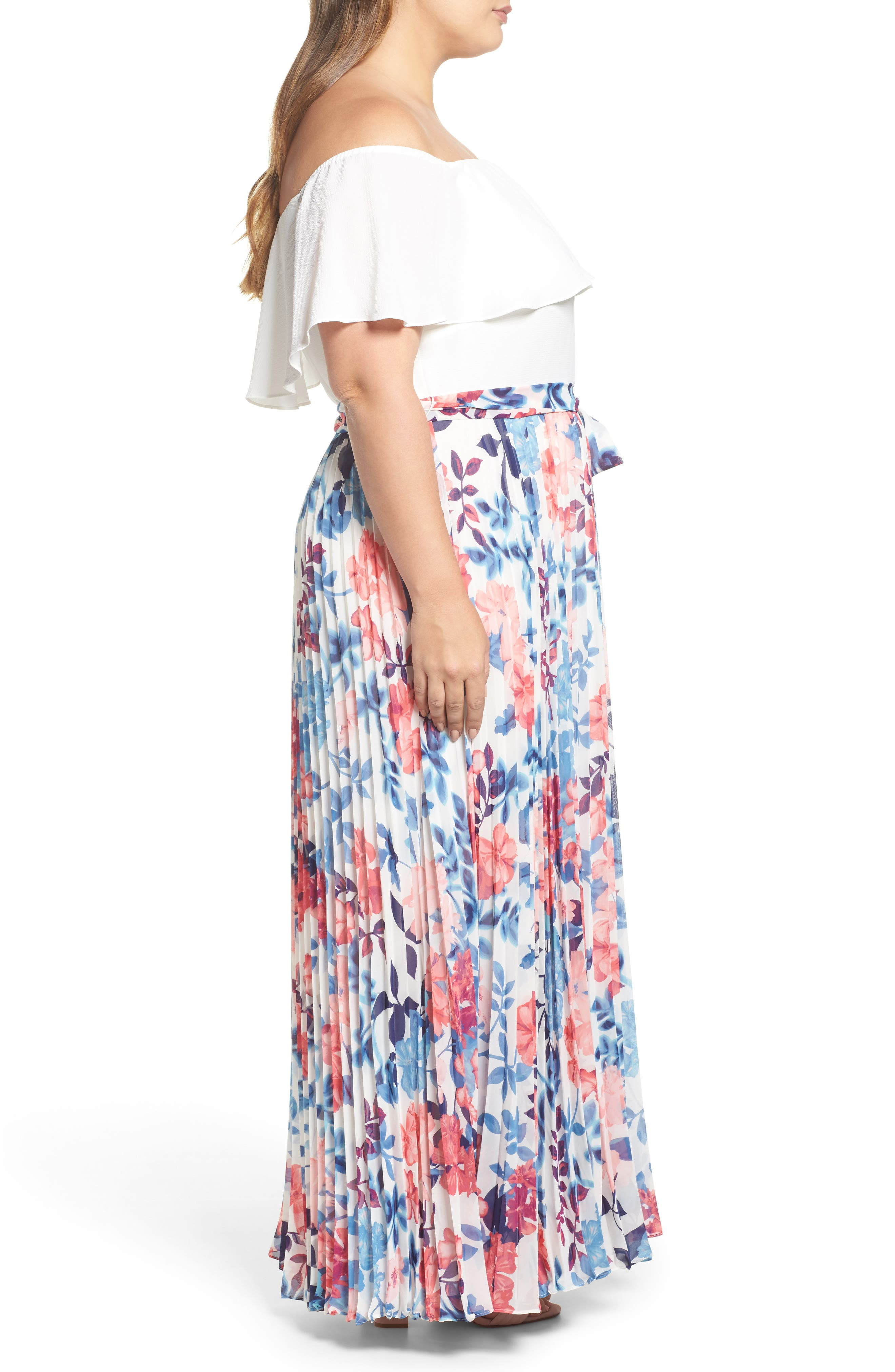 Off the Shoulder Maxi Dress,                             Alternate thumbnail 3, color,                             IVORY BLUE