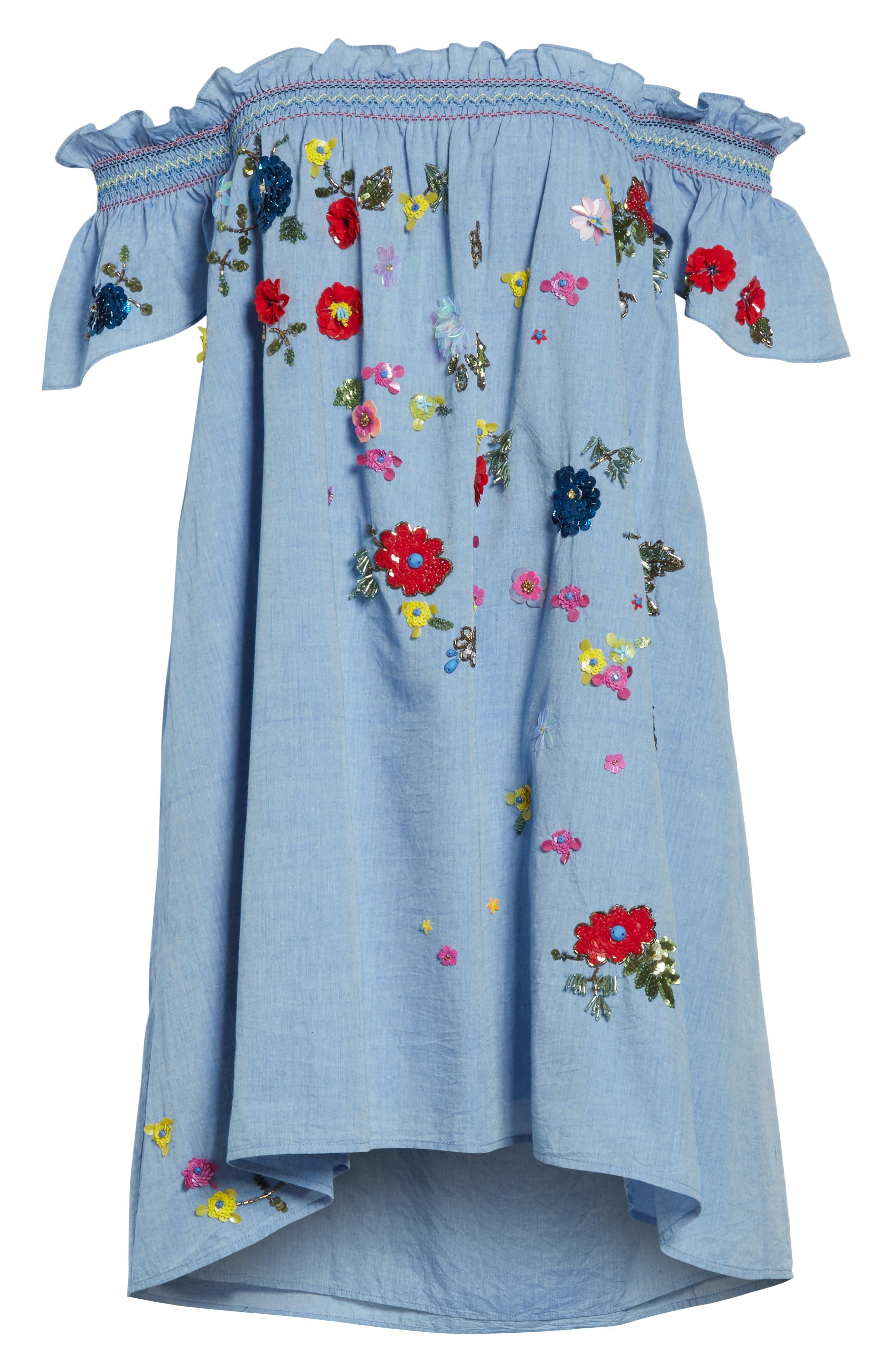 Clarimonde Embroidered Off the Shoulder Cotton Dress,                             Alternate thumbnail 6, color,                             400